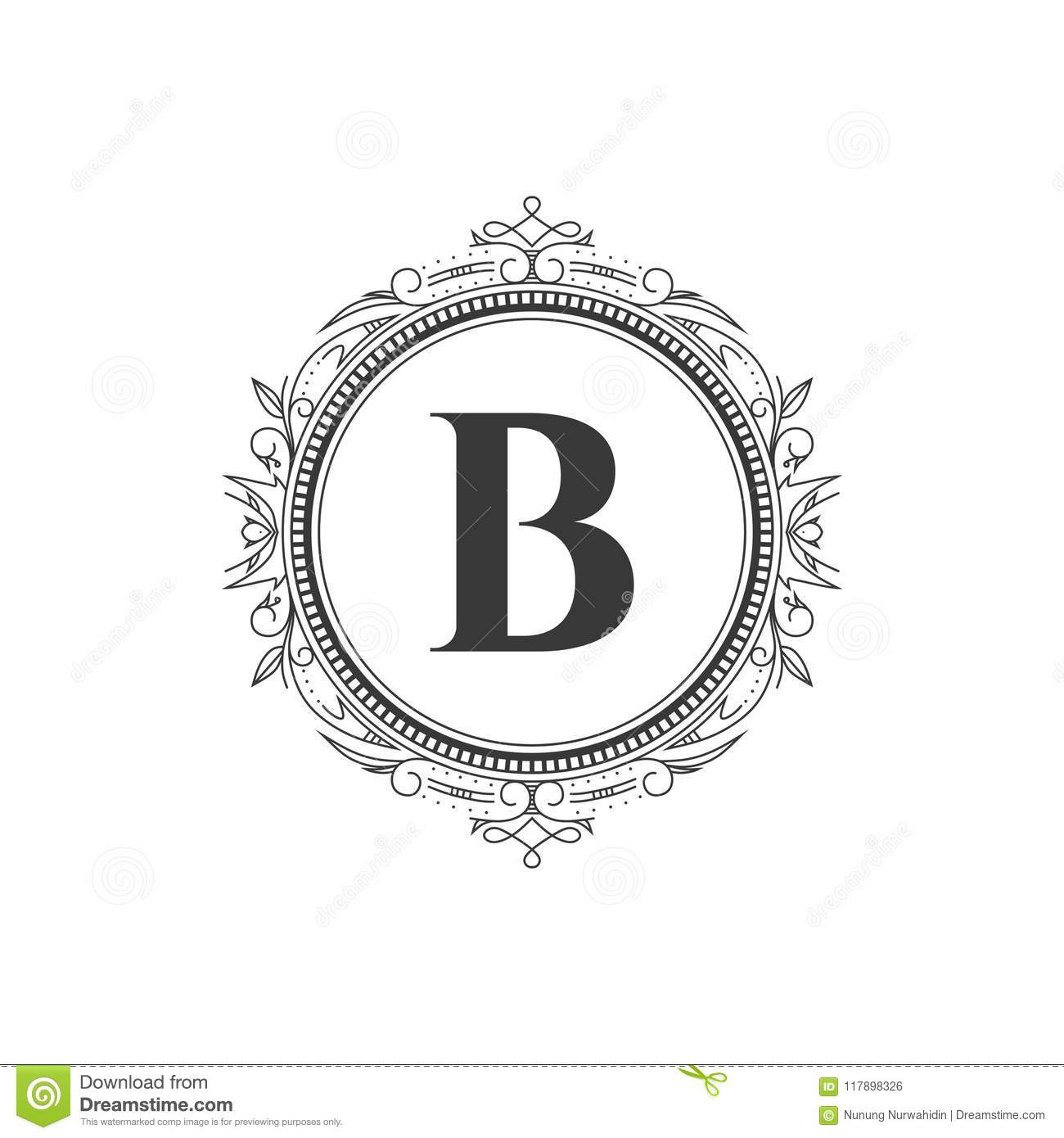 B Initial Monogram Letter Logo Template With Luxury Ornament