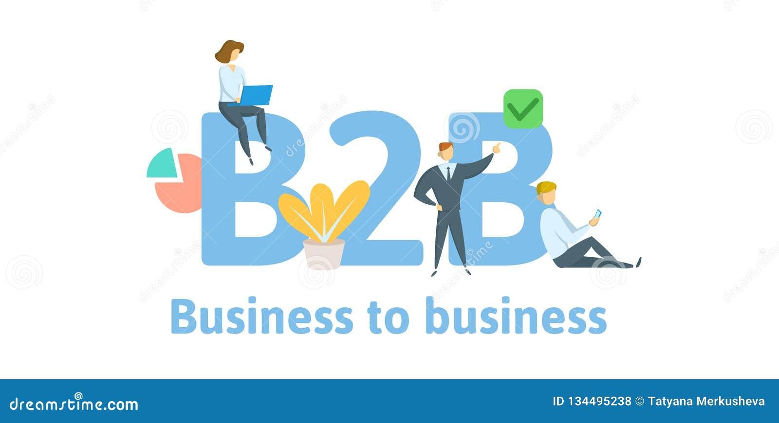 B2B, interempresarial Concepto con palabras claves, letras, e iconos Ejemplo plano del vector Aislado en blanco