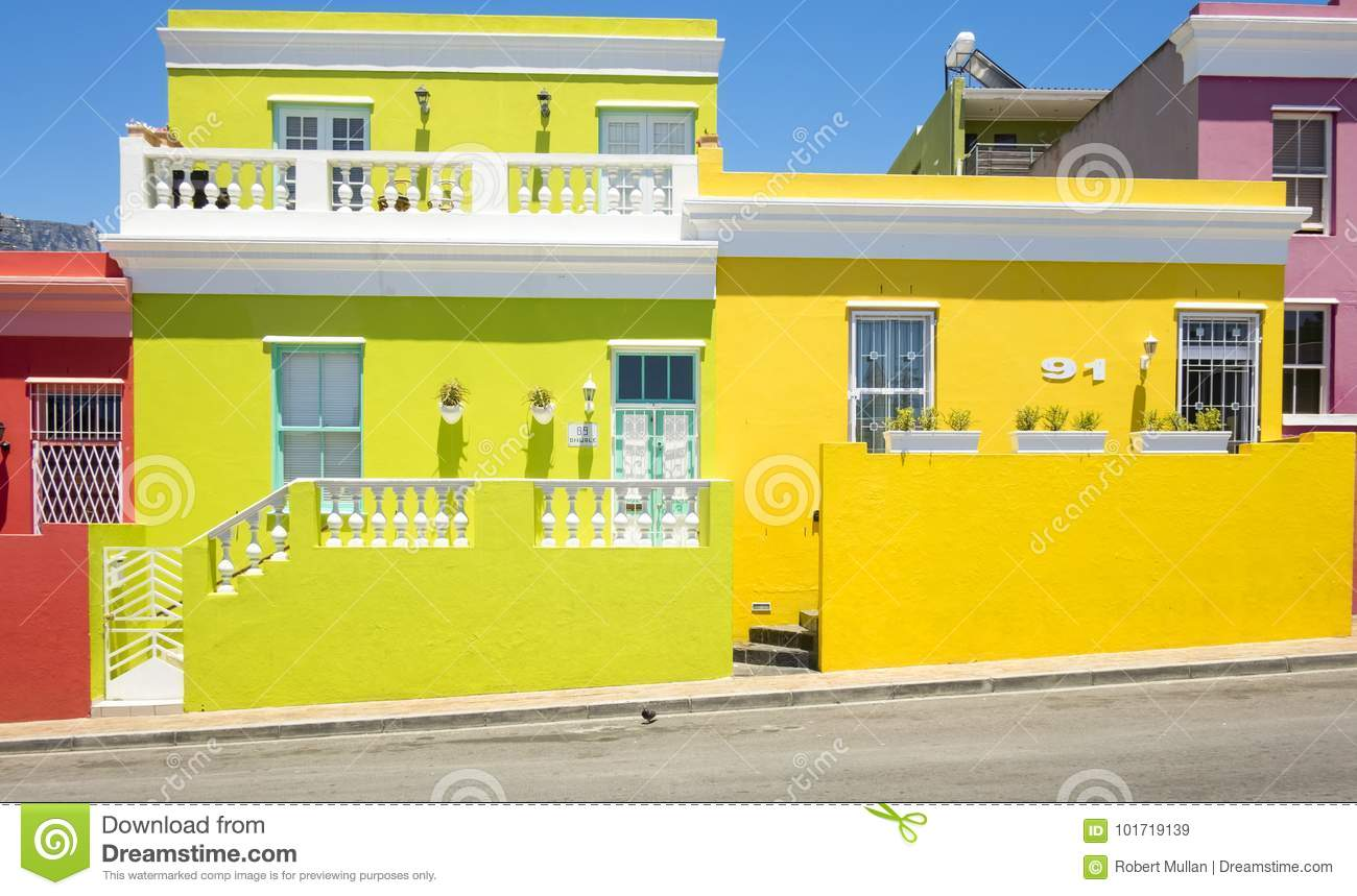 Colourful houses in bo kaap a former township situated on the slopes of signal hill cape town south africa