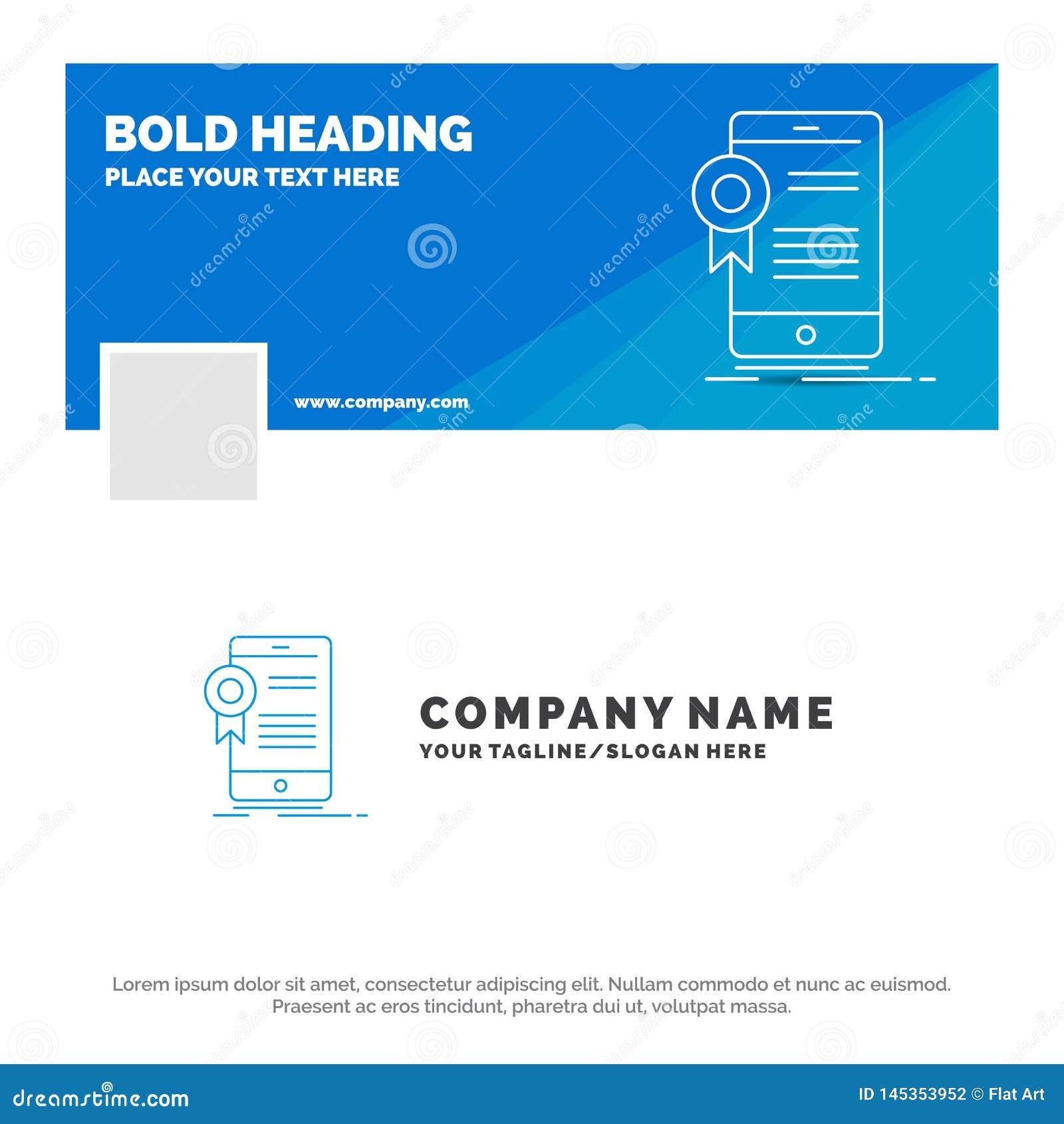 B??kitny Biznesowy logo szablon dla ?wiadectwa, certyfikat, App, zastosowanie, zatwierdzenie Facebook linia czasu sztandaru proje