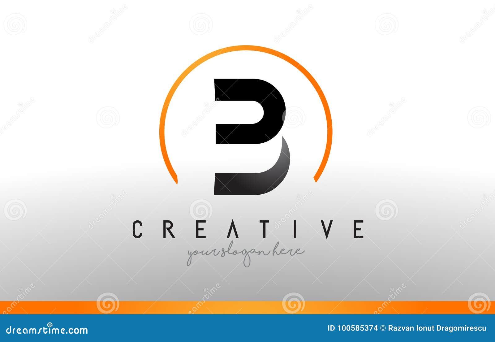 b letter logo design with black orange color cool modern icon t