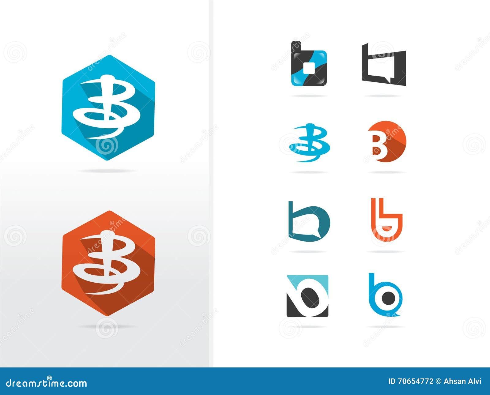 B letter logo design stock vector illustration of design for B b com
