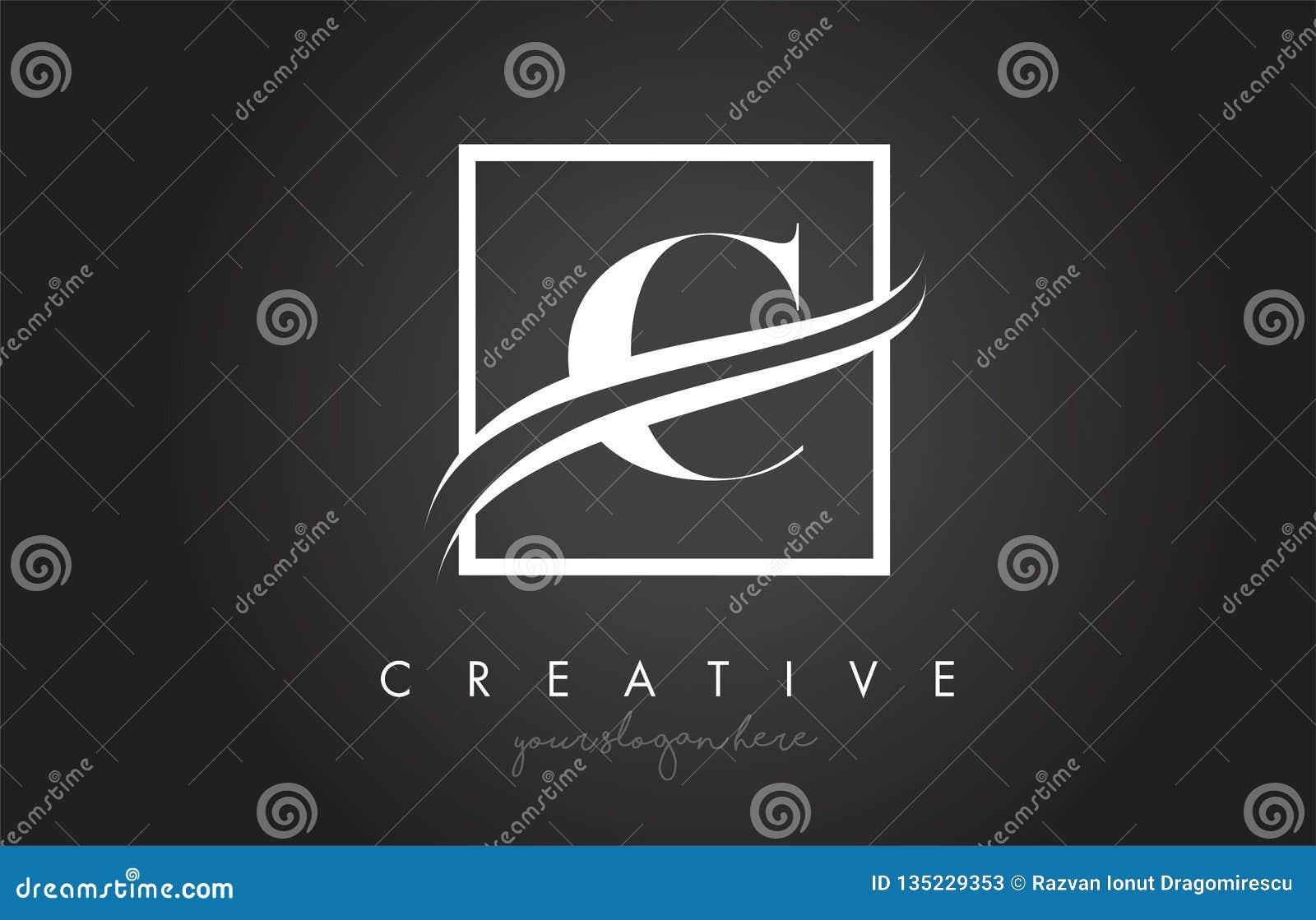 C Letter Logo Design with Square Swoosh Border and Creative Icon Design