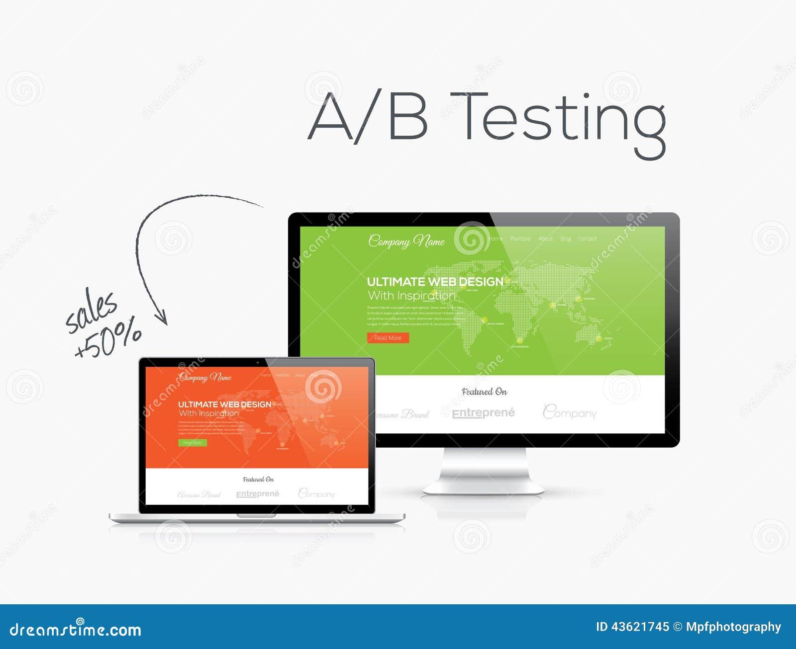 A/B testende optimalisering in de vectorillustratie van het websiteontwerp