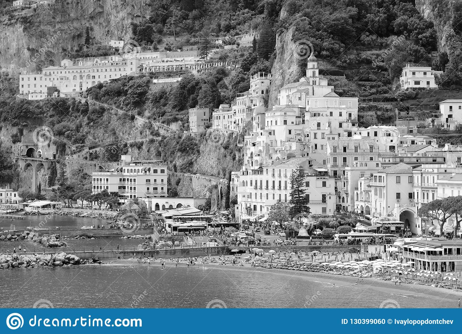 B&W image of Amalfi, Italy, Waterfront buildings, beach and port