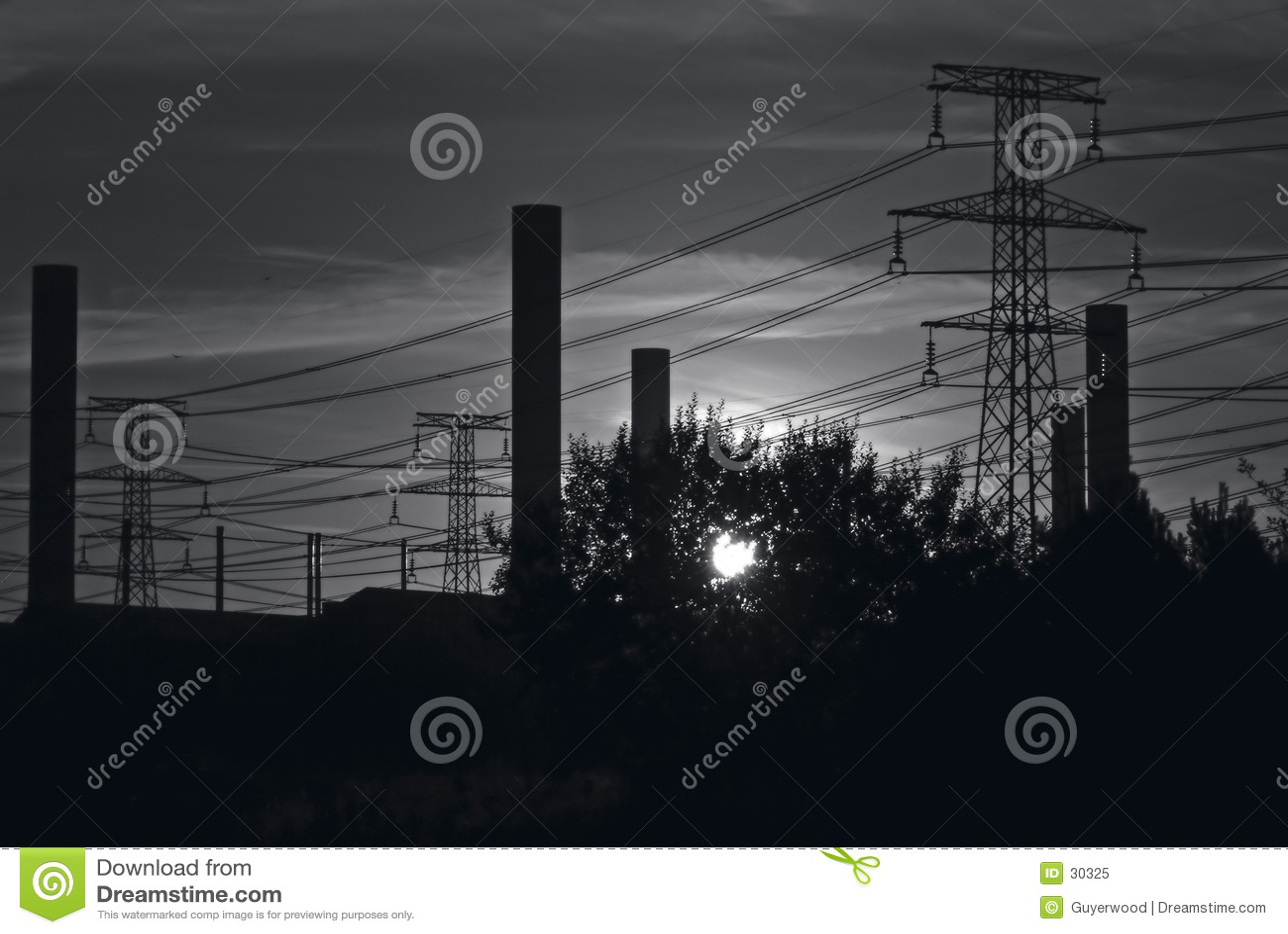 B&W industrial sky