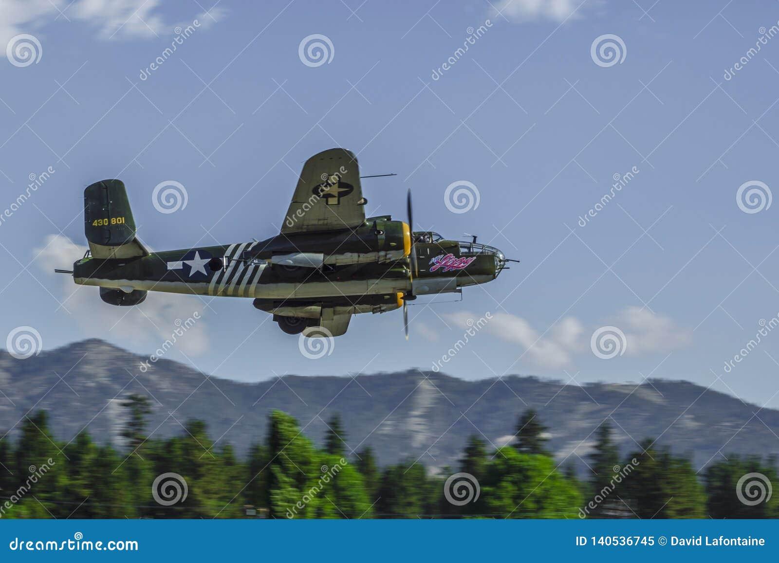 B25 Warbird making low pass over Big Bear City, California