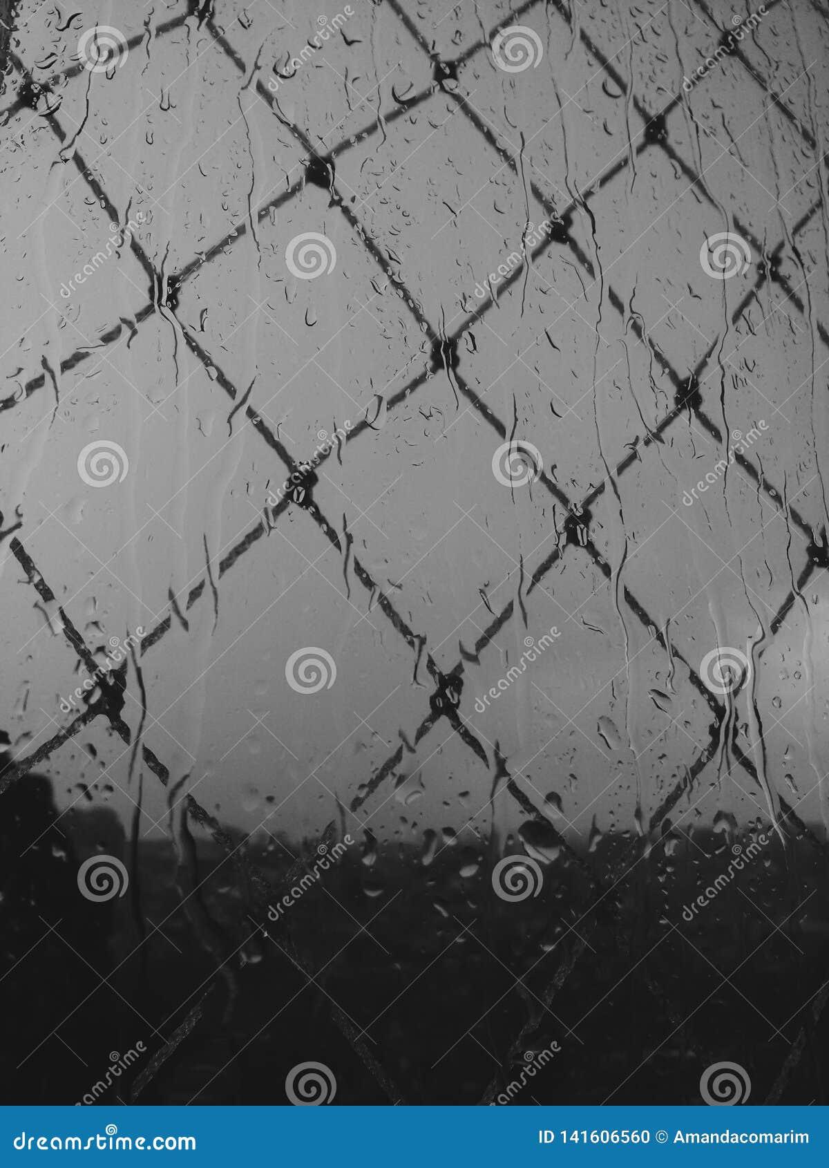 B-/Wphotographie eines regnerischen Tages
