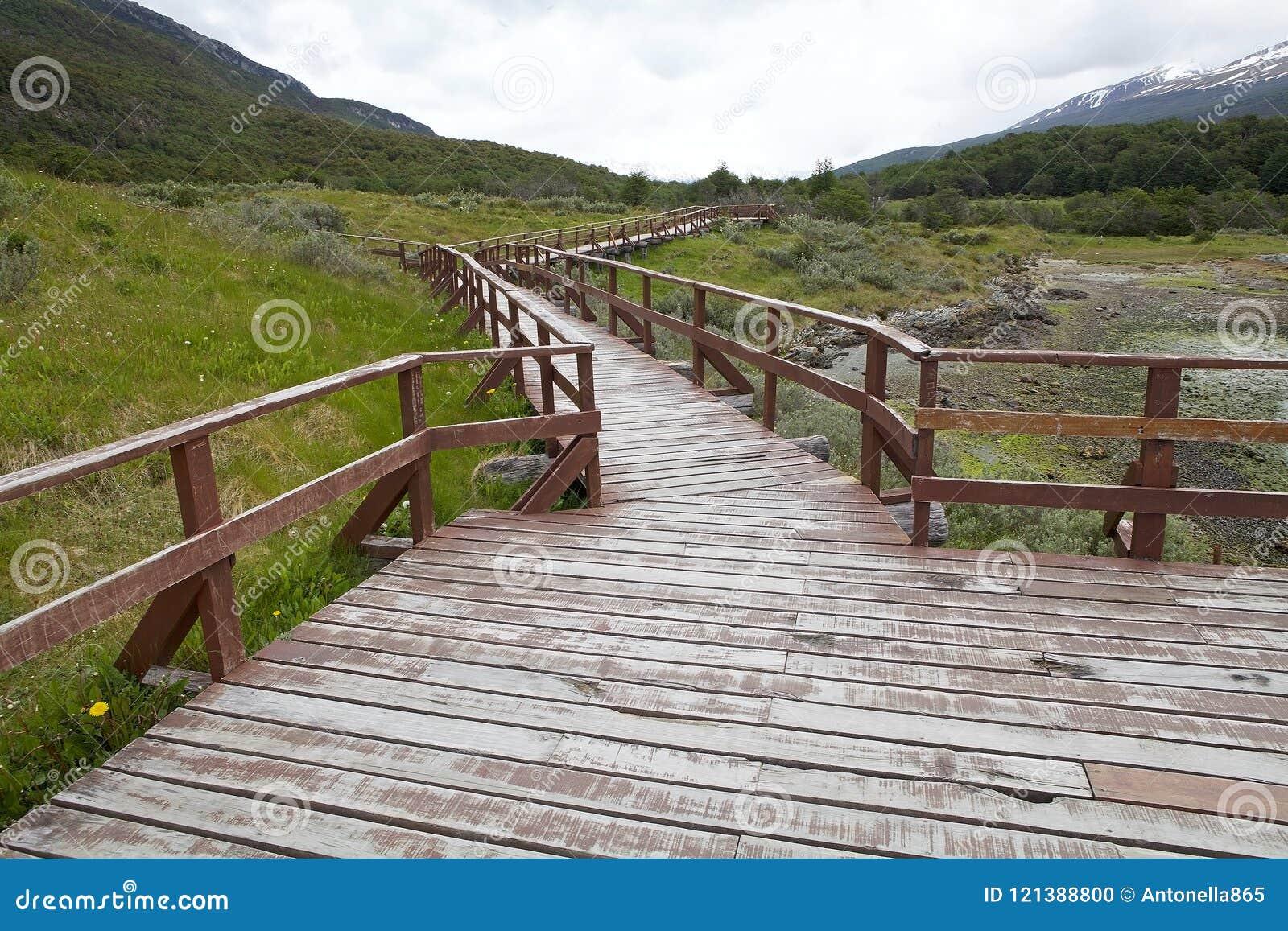 Baía de Lapataia ao longo da fuga litoral em Tierra del Fuego National Park, Argentina