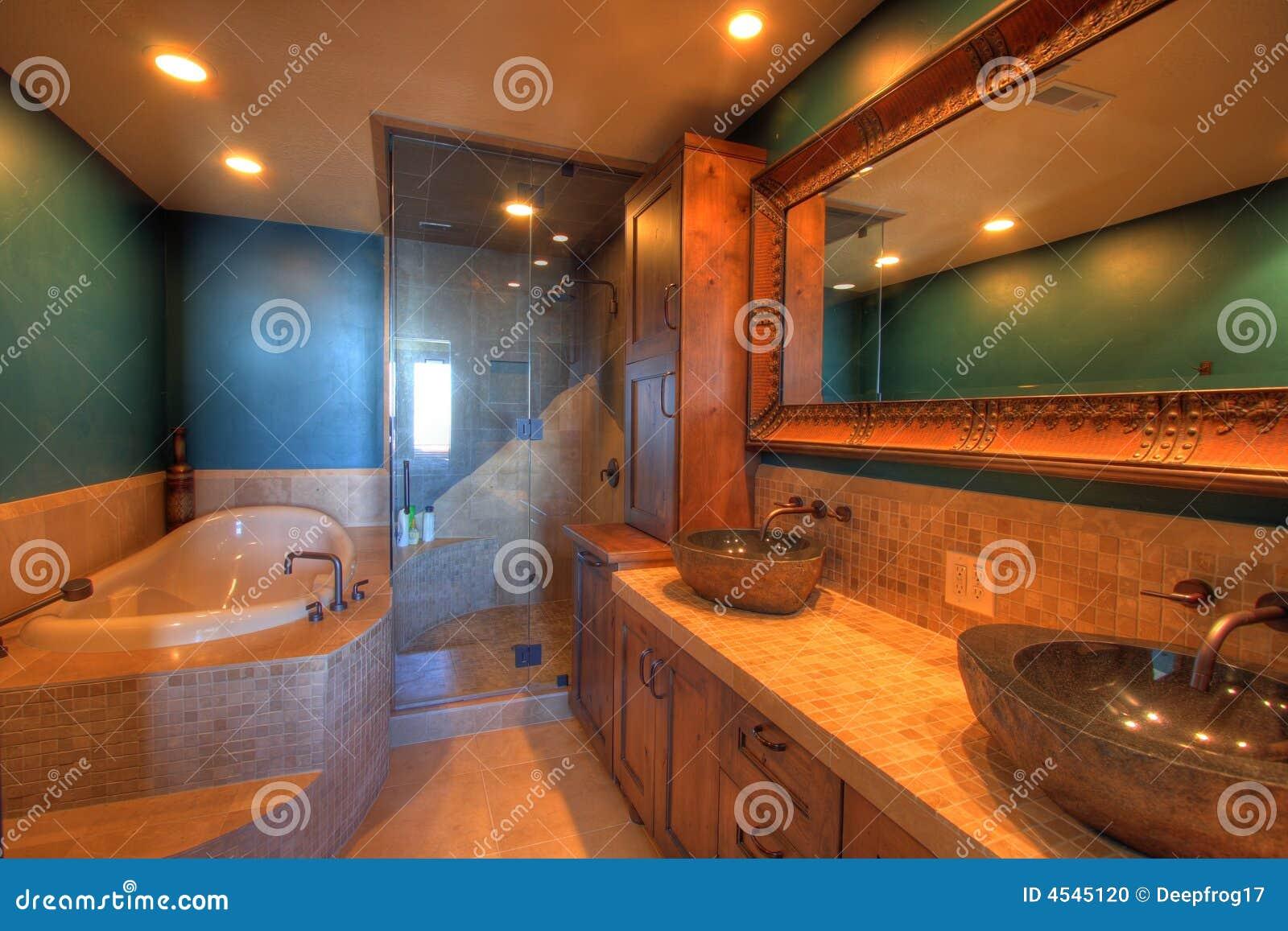 Tinas De Baño Viejas:Foto de archivo: Baño con la tina y la ducha