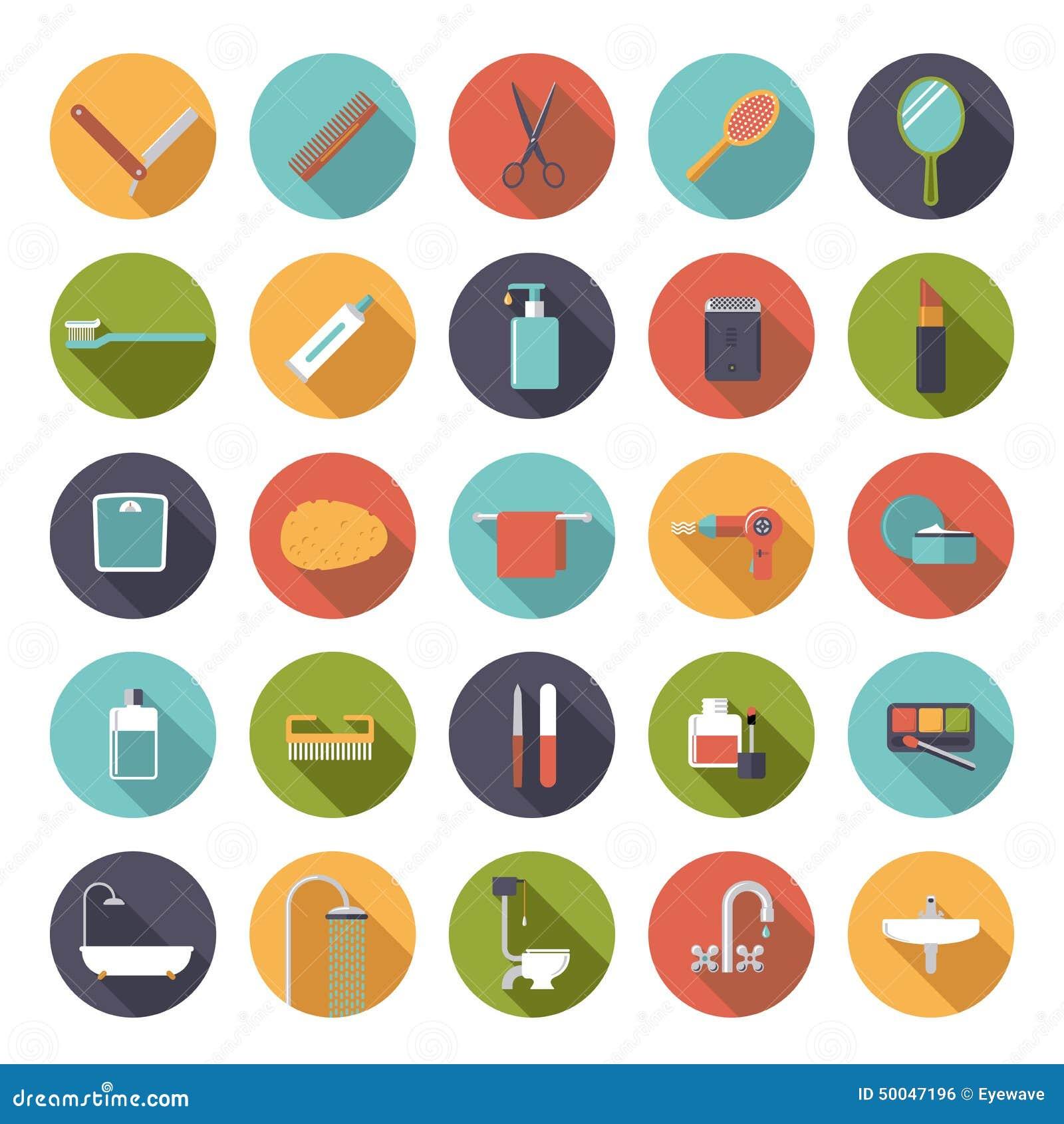 baño del diseño y colección planos de los iconos del vector de la
