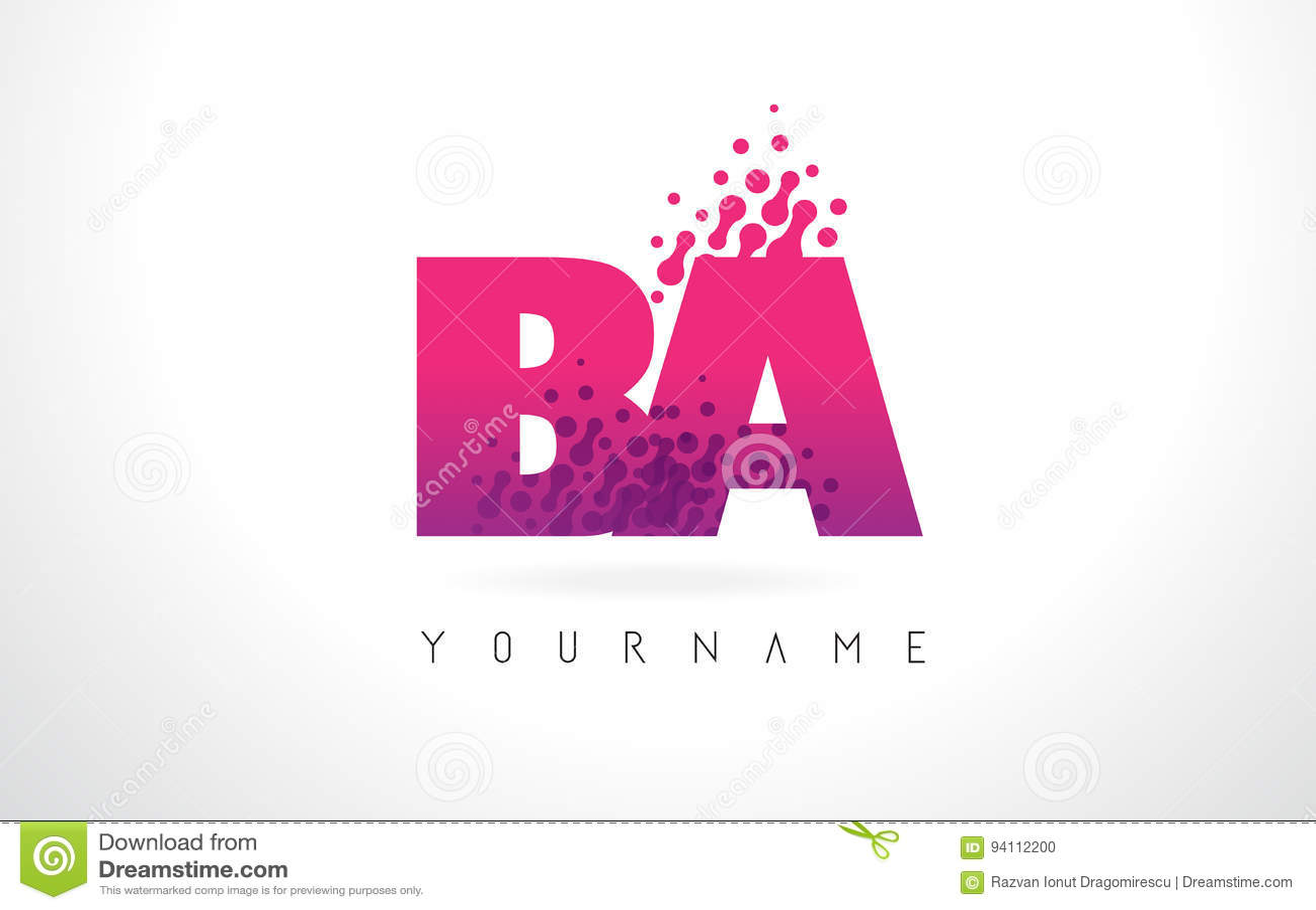 BA B A Letter Logo With Pink Purple Color And Particles Dots Des ...