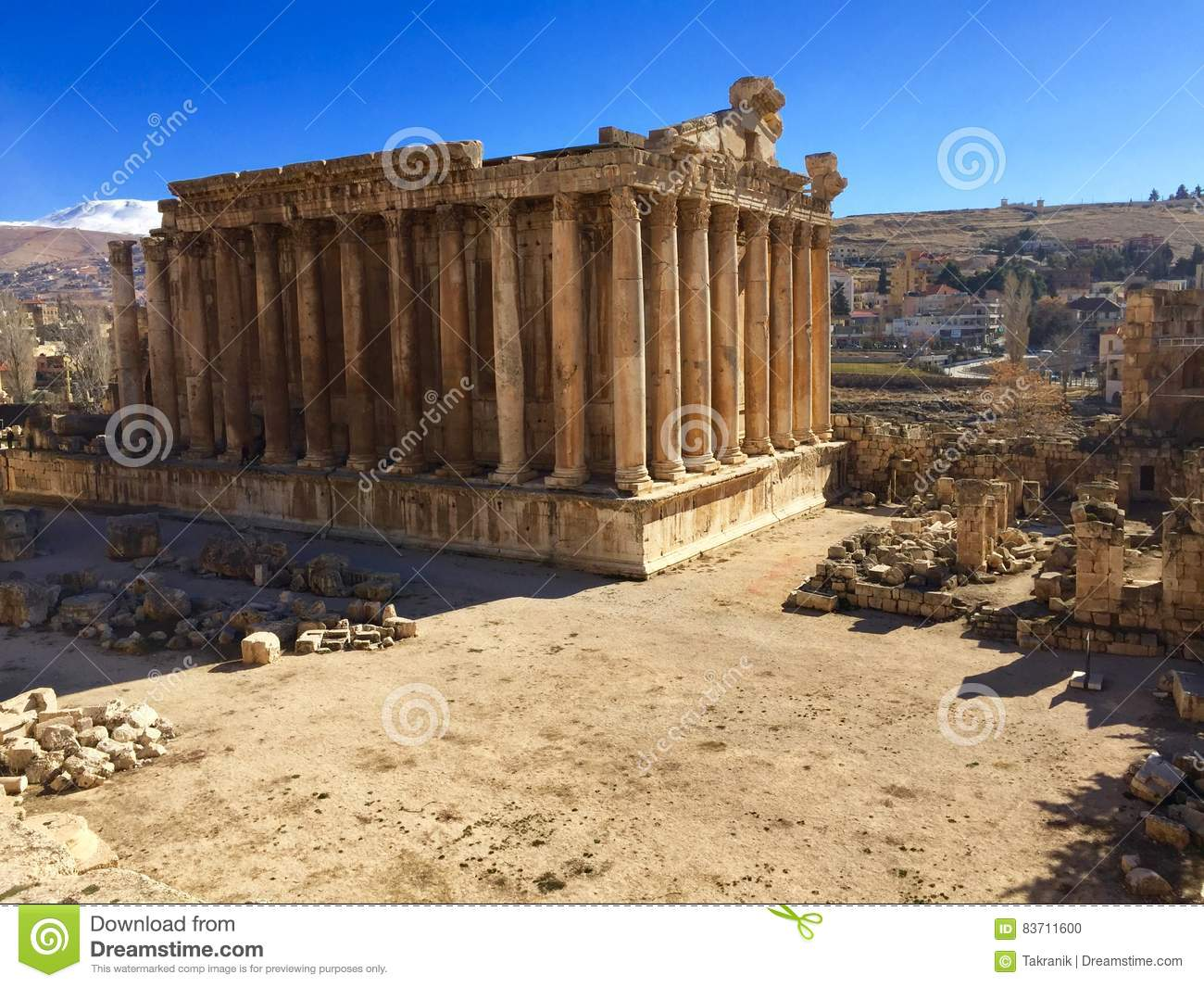 Baalbek UNESCO World Heritage Site, The Temple Of Bacchus Stock Photo