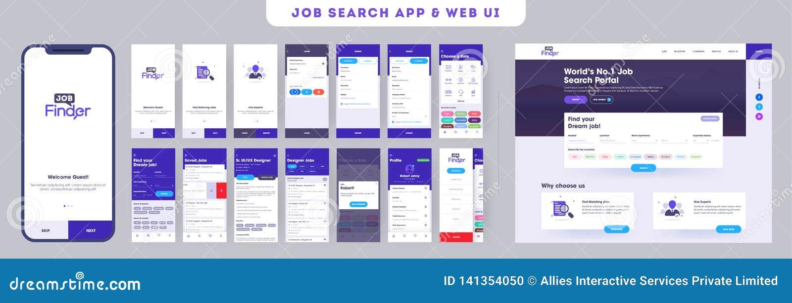 Baan die app ui uitrusting naar ontvankelijke mobiele toepassing of website met verschillende toepassingslay-out zoeken