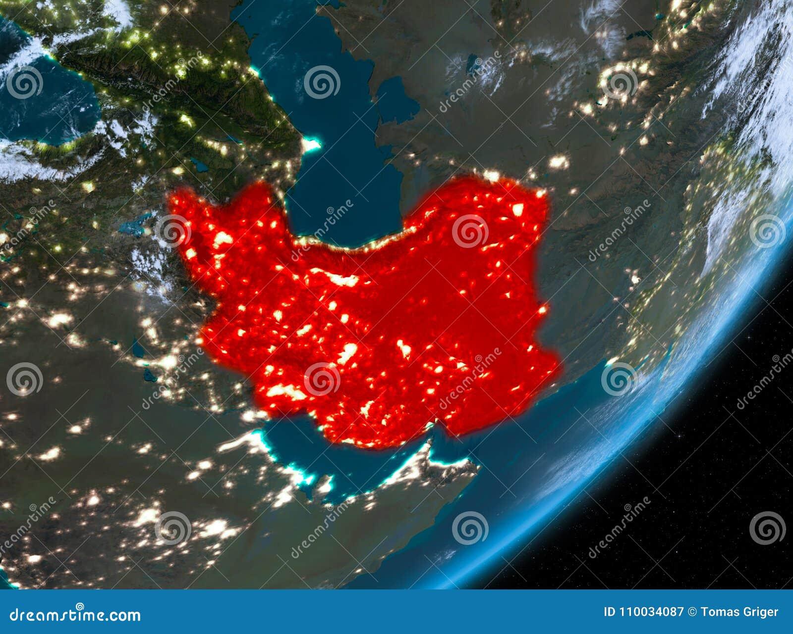 Baanmening van Iran bij nacht