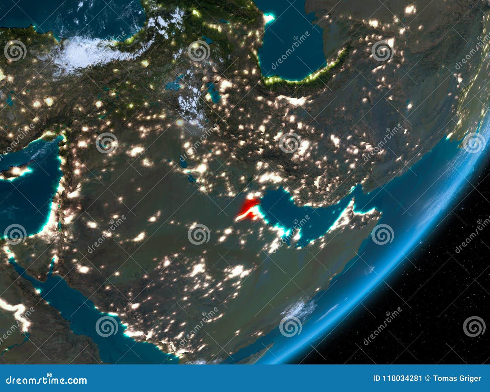 Baanmening van Koeweit bij nacht