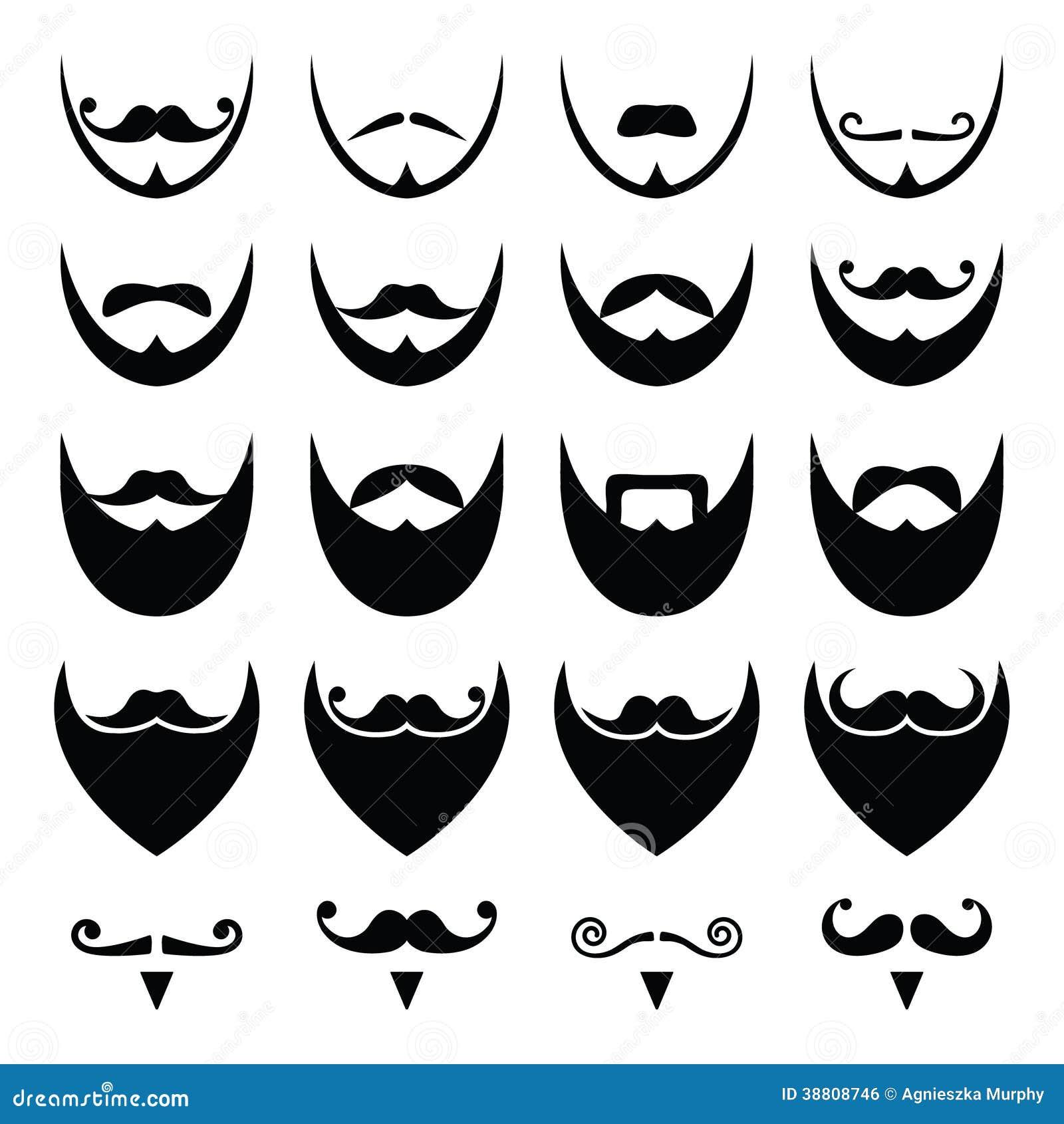 baard met snor of snor geplaatste pictogrammen stock illustratie beeld 38808746. Black Bedroom Furniture Sets. Home Design Ideas