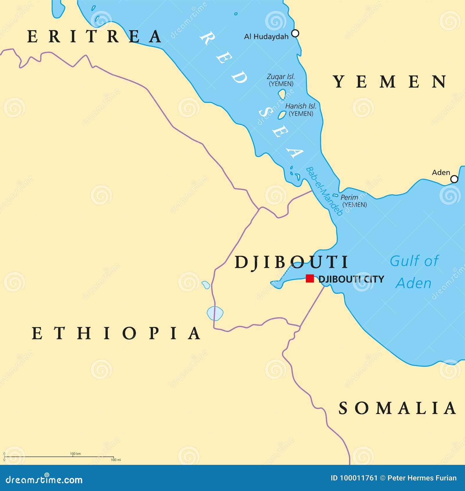 Political Map Of Yemen.Bab El Mandeb Strait Political Map Stock Vector Illustration Of