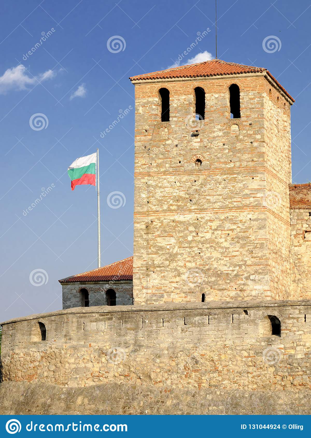 Baba Vida Fortress And Bulgarian Flag in Vidin