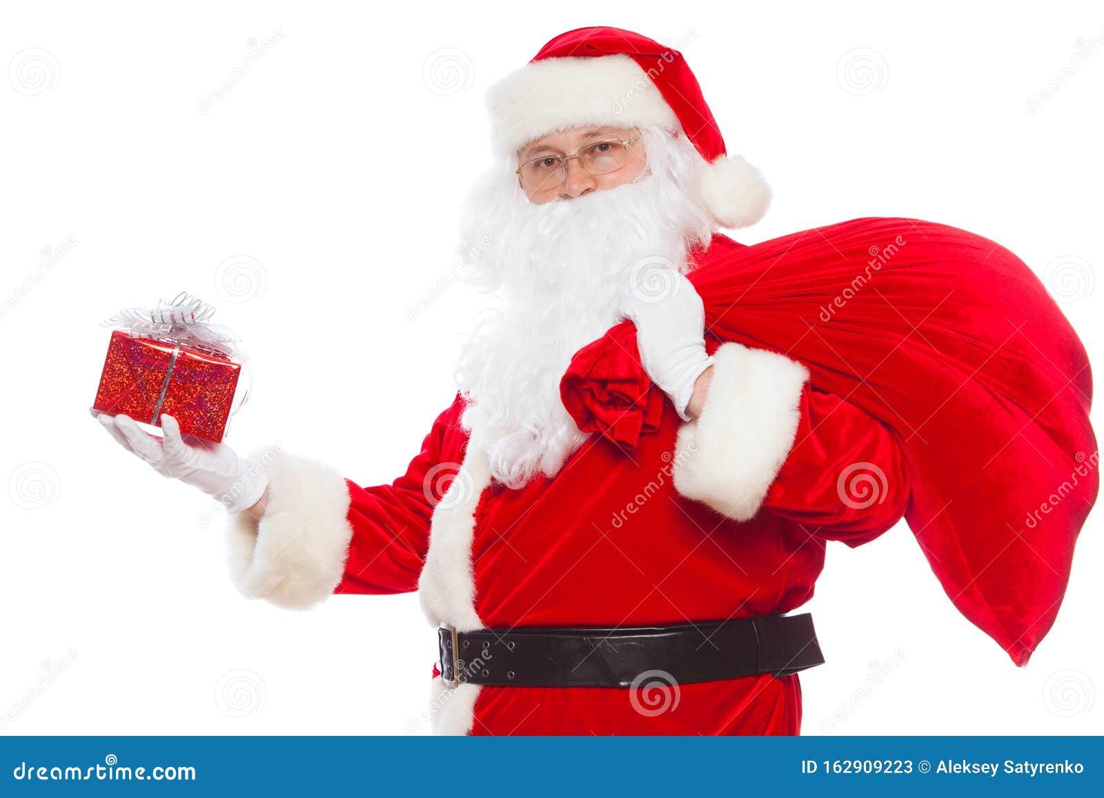 Sfondi Babbo Natale.Babbo Natale Bello Di Regali Una Borsa Isolata Su Sfondo Bianco Natale Immagine Stock Immagine Di Occasione Rosso 162909223