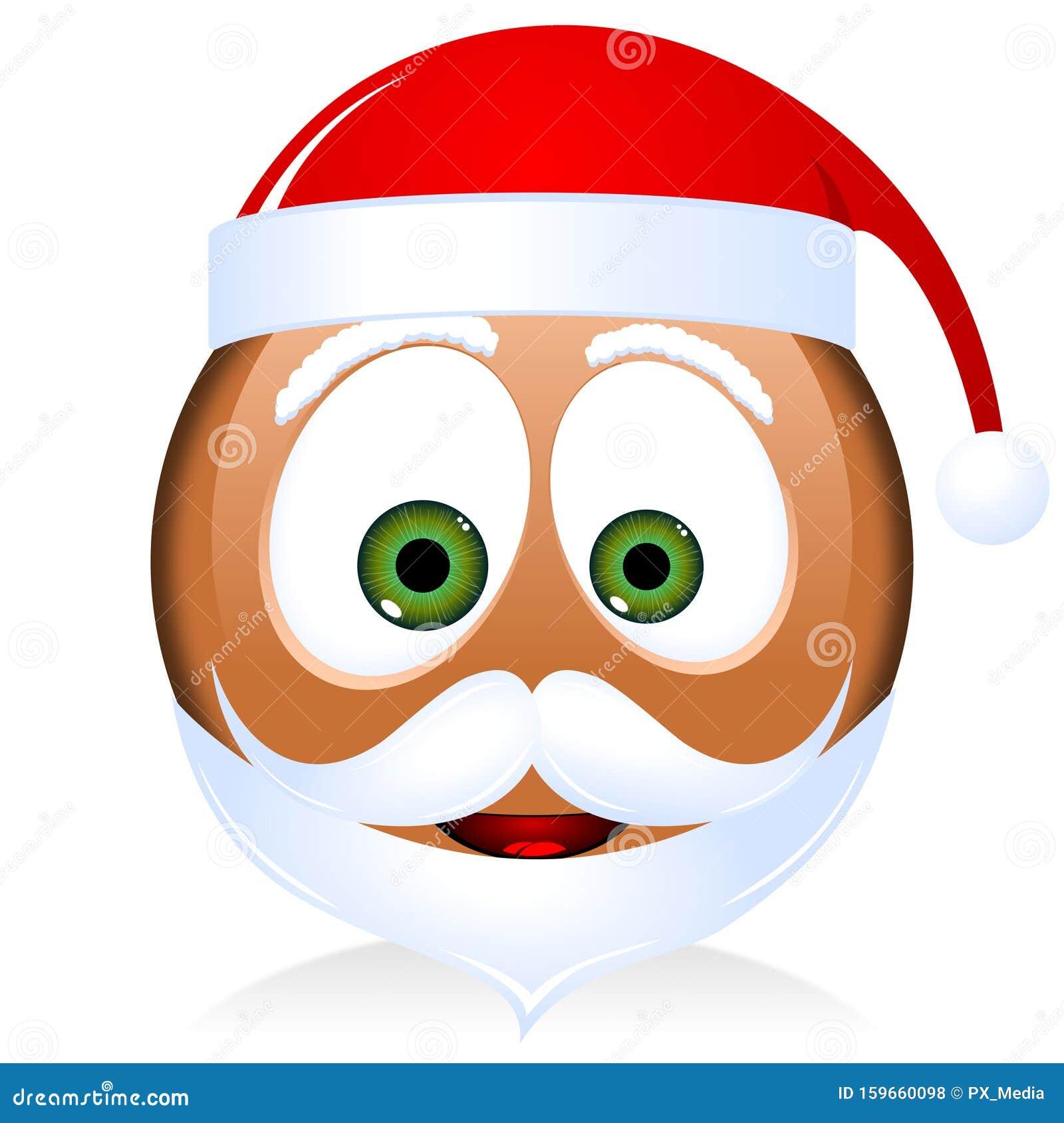 Emoticon Babbo Natale.Babbo Natale Nero Emoji Emoticon Illustrazione Di Stock Illustrazione Di Icona Santa 159660098