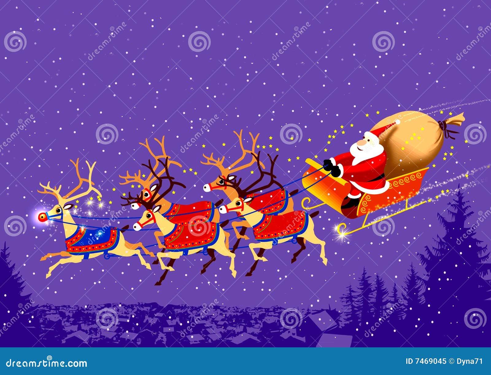 Babbo natale renne santa on his sledge stock illustration - Babbo natale stampabile ...