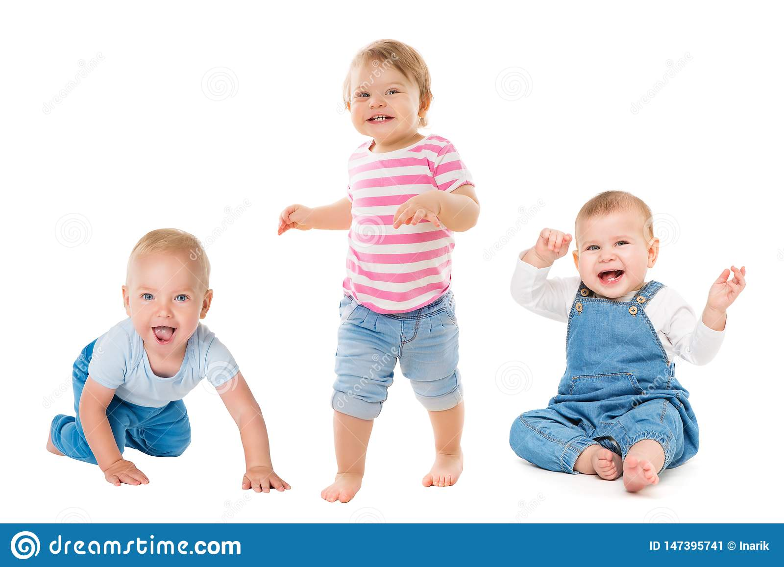Babies Boys Girls, Crawling Sitting Standing Infant Kids, Growing Toddlers Children Group Isolated on White