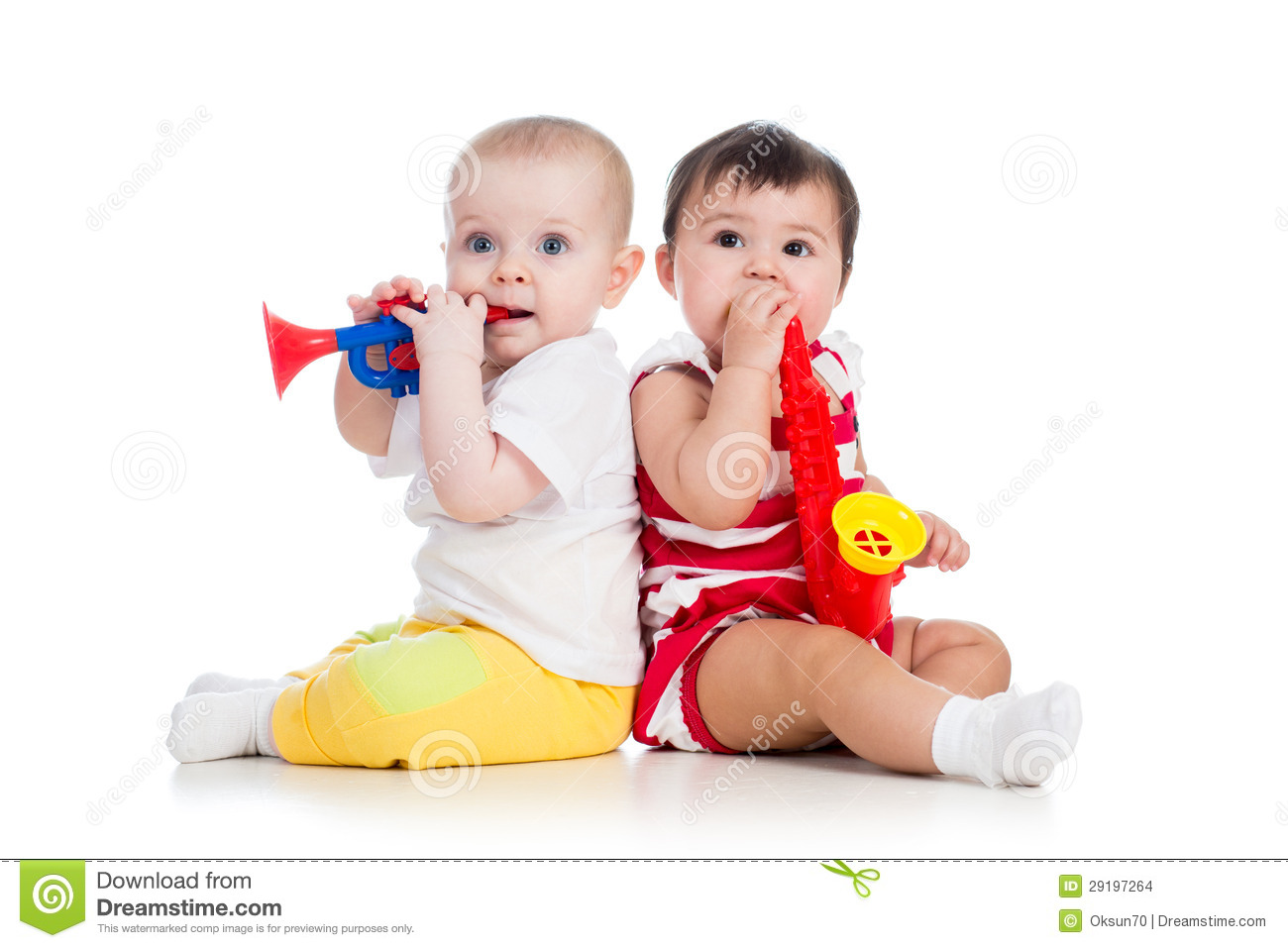 Babies Girls Playing Musical Toys Stock Images - Image -2727