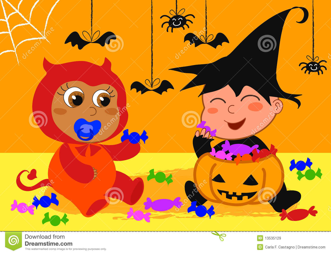 Babies At Halloween Party Royalty Free Stock Images - Image: 13535129