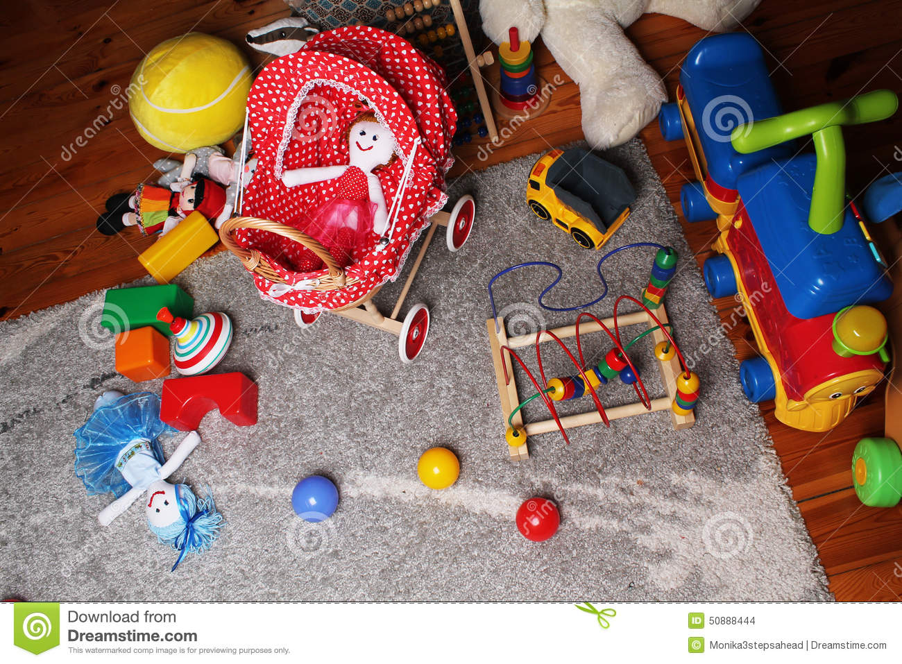 Baby Floor Toys : Babies play room with toys on the floor stock photo