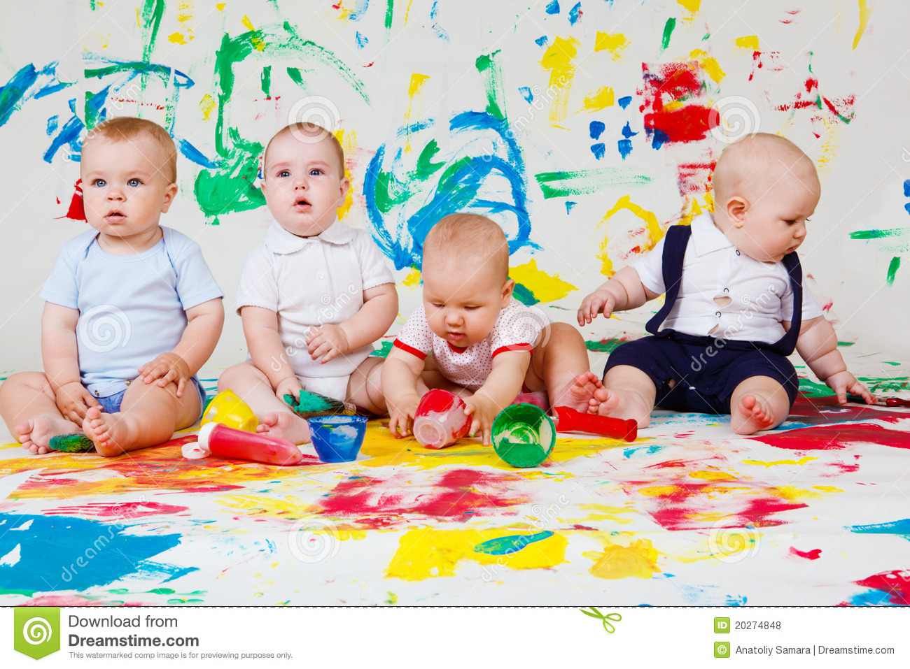 Babies Playing With Paints Royalty Free Stock Photos - Image: 20274848