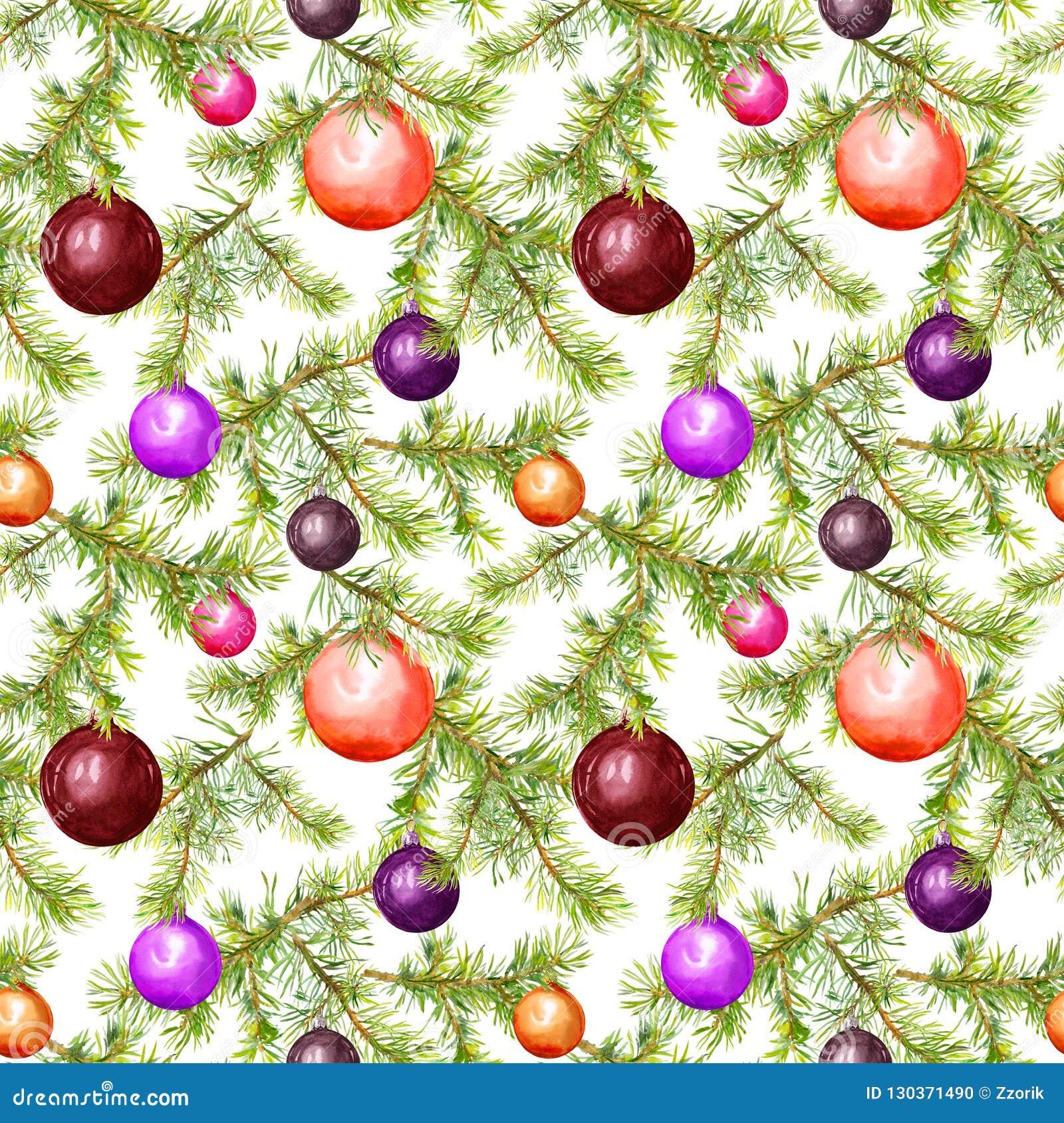 Babioles de Noël, brindilles d arbre de sapin Configuration sans joint pour la conception de Noël watercolor
