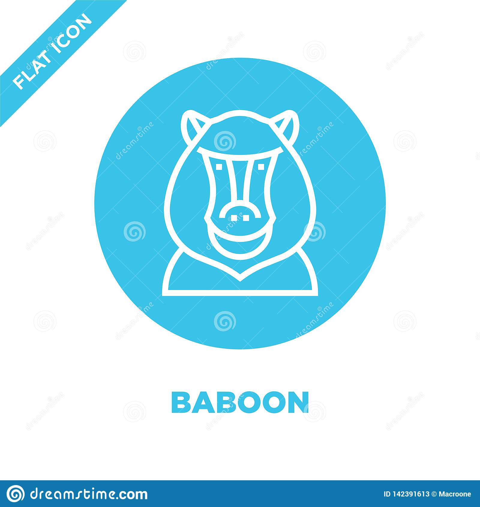 Baboon διάνυσμα εικονιδίων από τη ζωική επικεφαλής συλλογή Λεπτή baboon γραμμών διανυσματική απεικόνιση εικονιδίων περιλήψεων Γρα