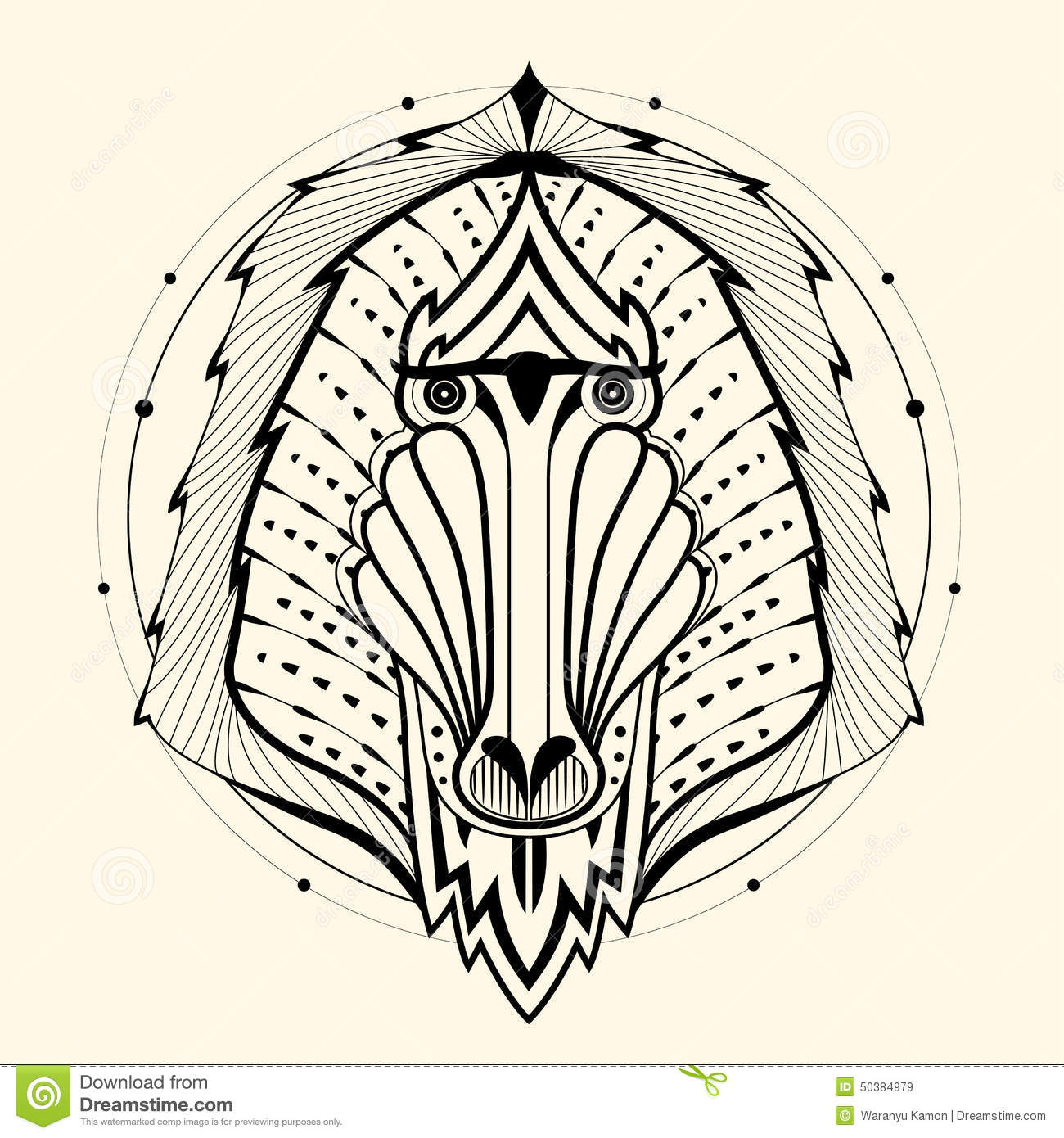Baboon zentangle
