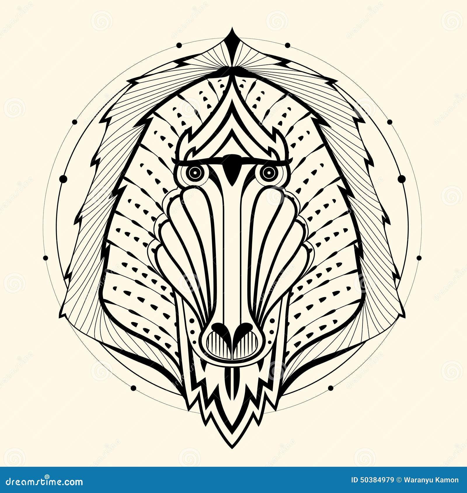 Baboon zentangle