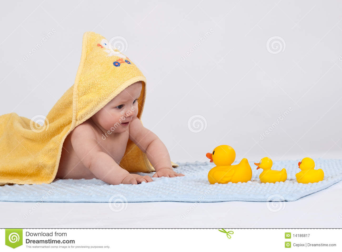 Baby with 3 yellow ducks