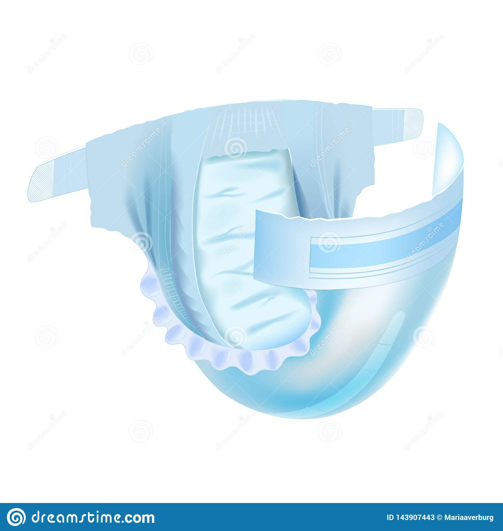 Baby diaper isolated on white background. Realistic vector illustration for diapers packs, and other babies production.