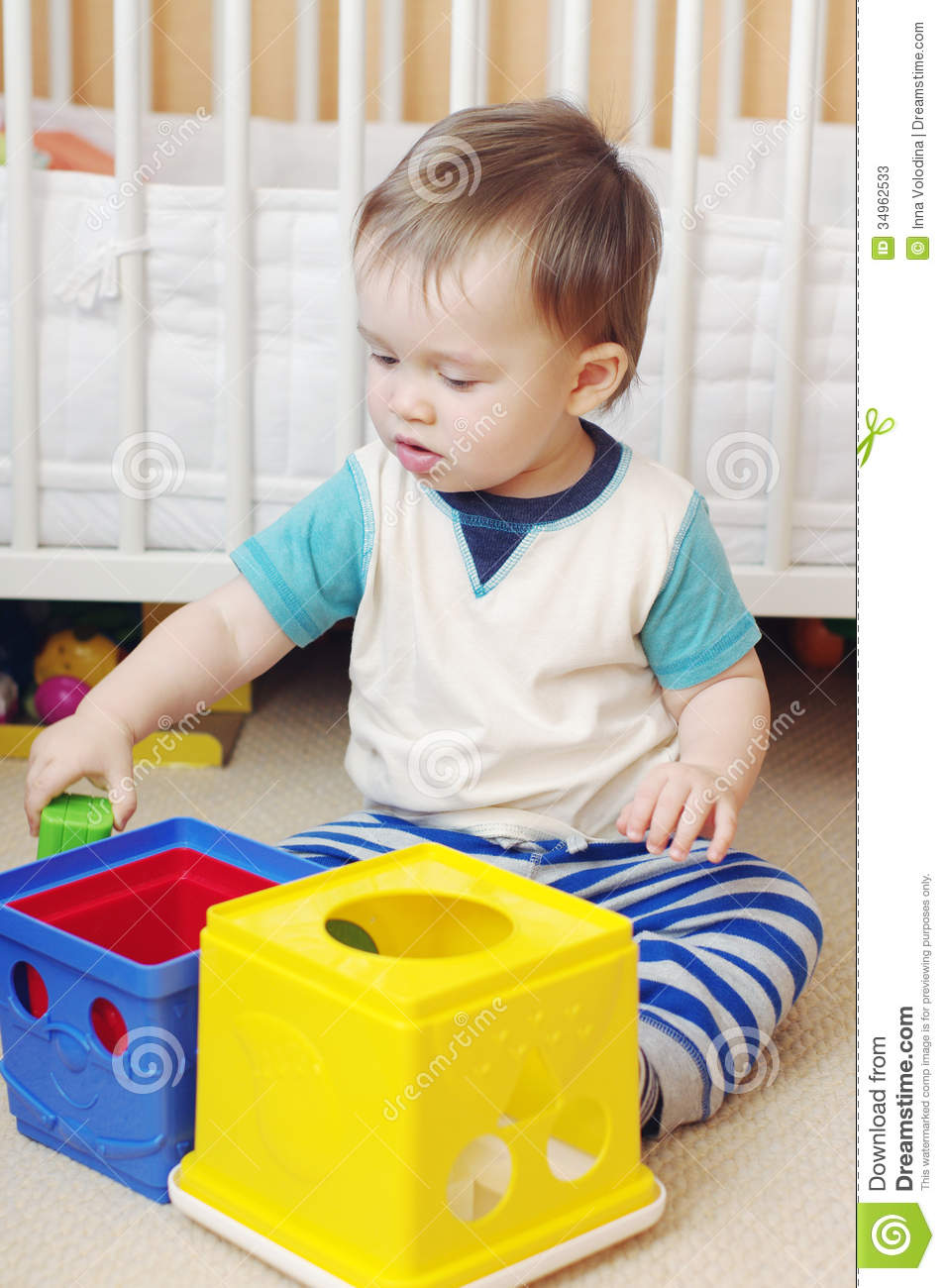 Baby Toys Age 1 : Baby age of year plays toys at home stock image
