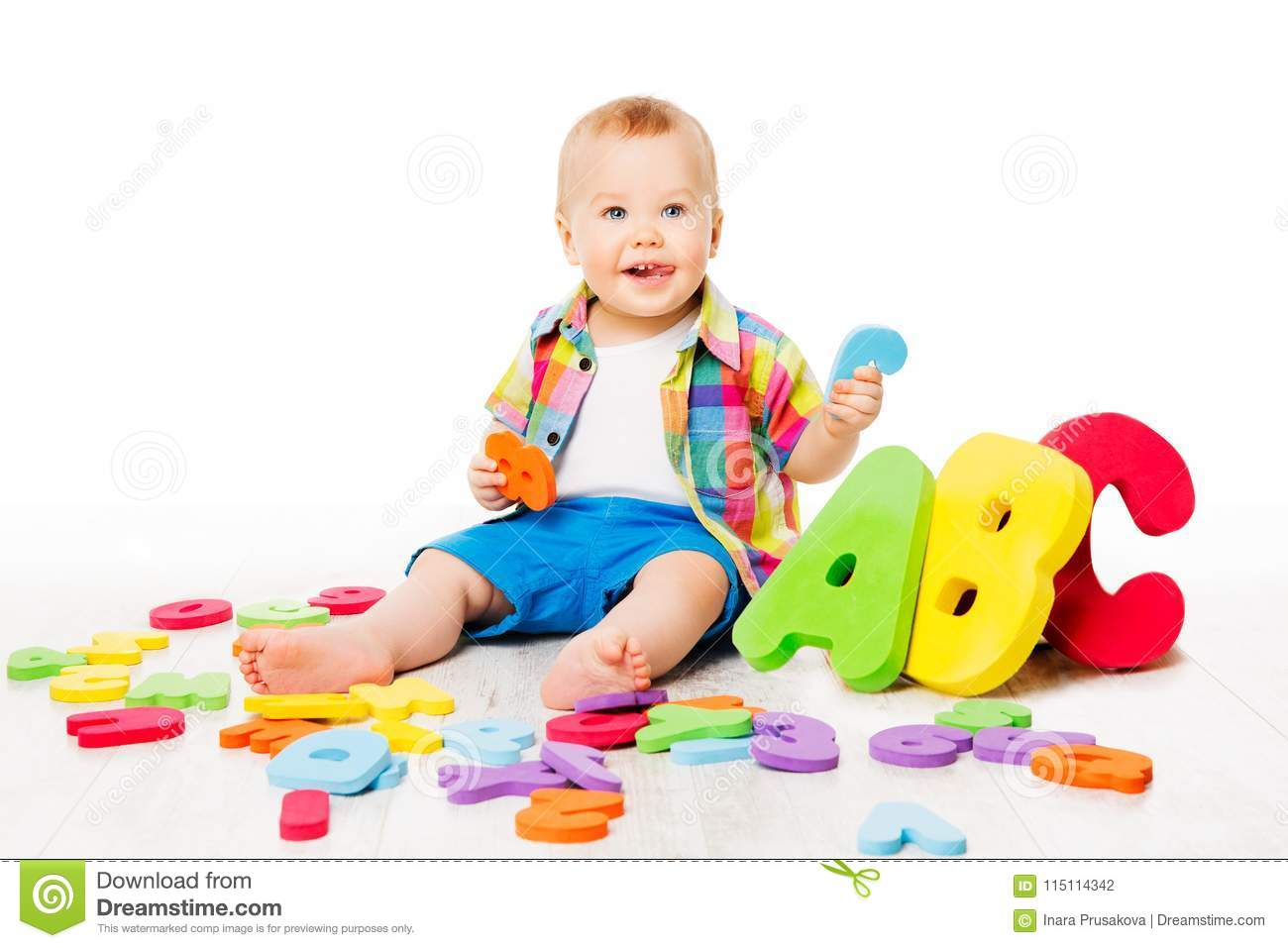 Baby Alphabet Toys, Child Playing Colorful ABC Letters on White
