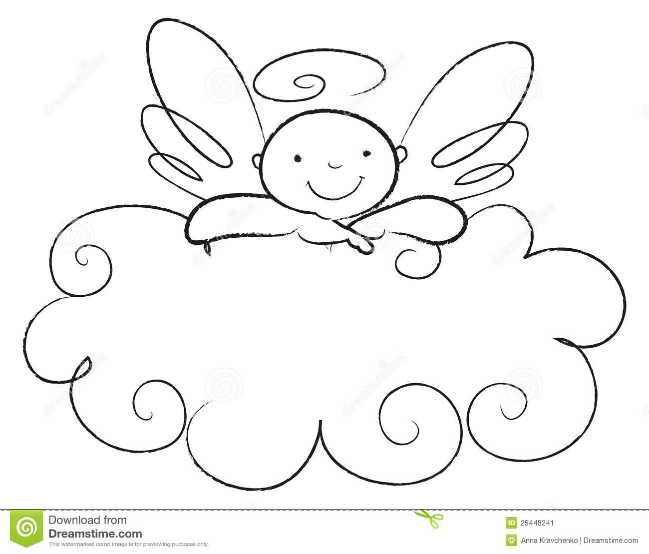 Angel Face Line Drawing : Baby angel leans on a cloud stock image