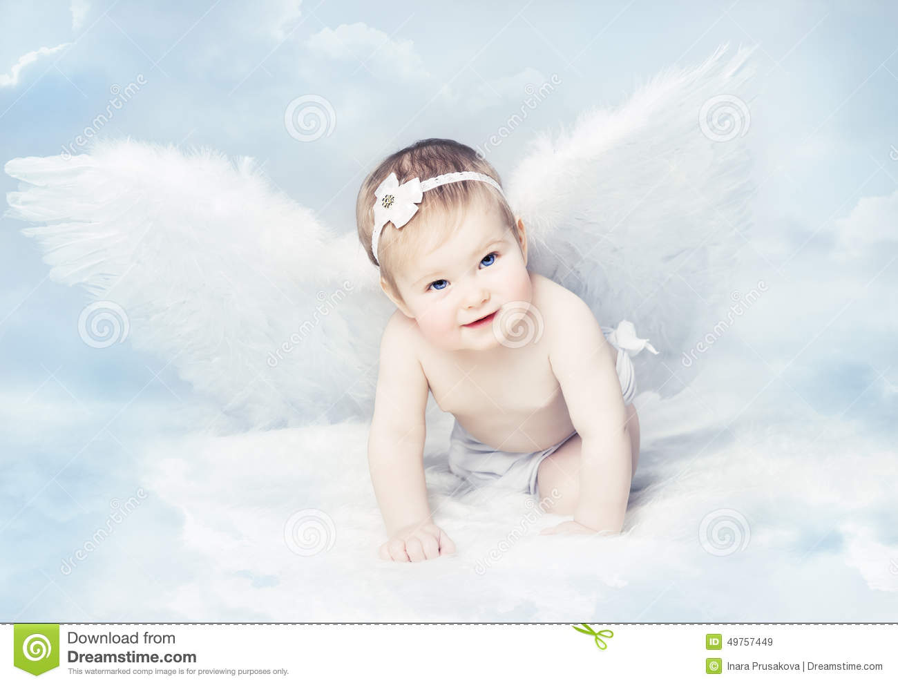 Baby Angel With Wings, Newborn Kid At Blue Sky Cloud Stock ...