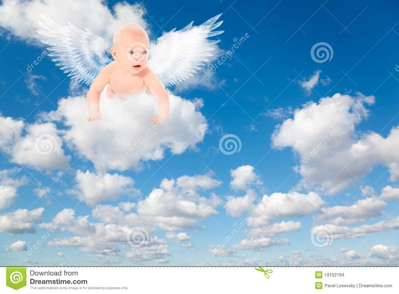 Baby With Angels Wings On Clouds