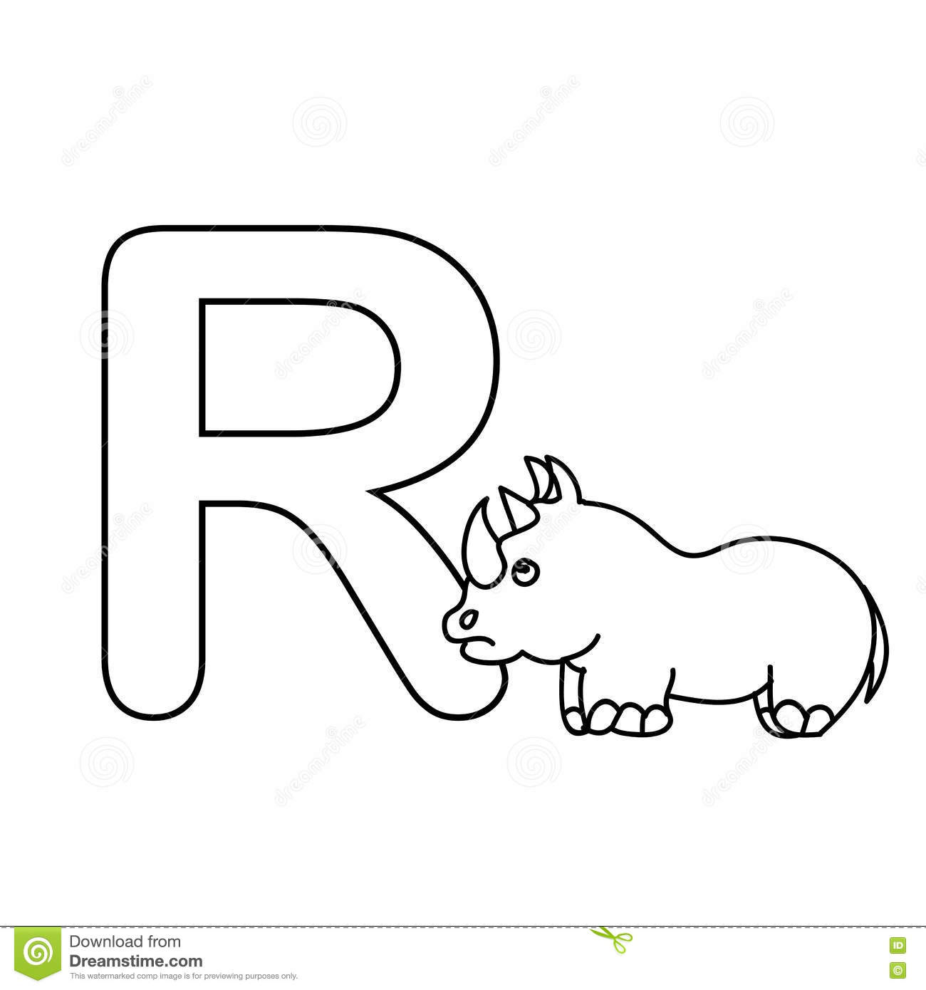 Baby Animals Alphabet Kids Coloring Page Isolated Stock Illustration ...