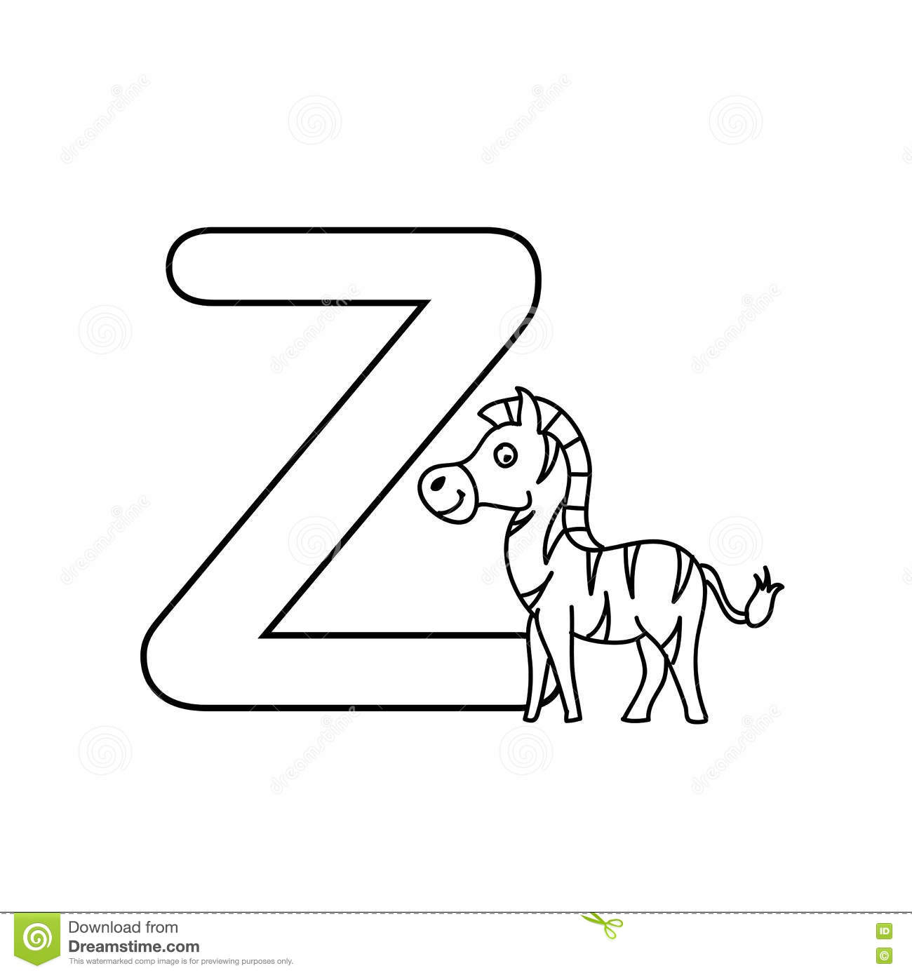 baby animals alphabet kids coloring page isolated stock