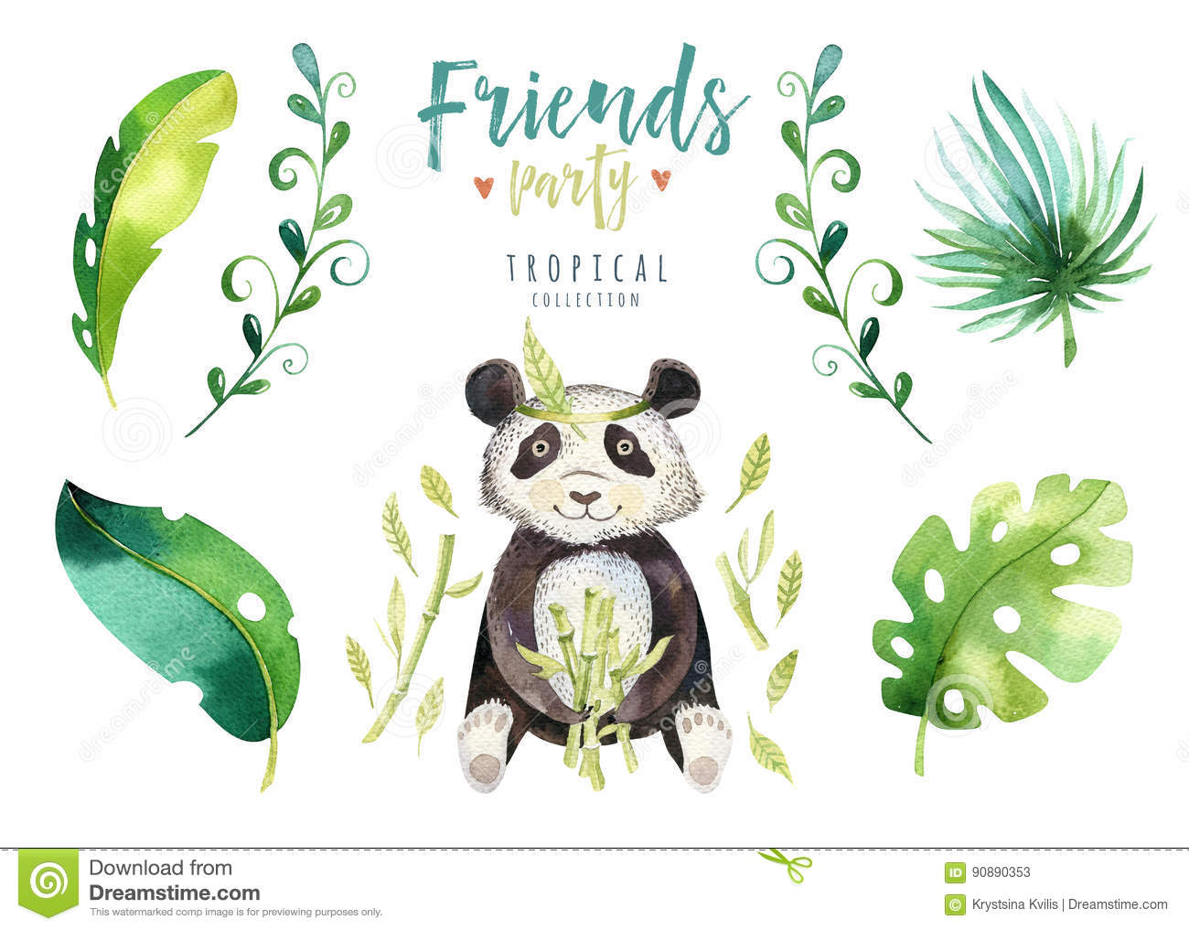 Download Baby Animals Nursery Isolated Illustration For Children Watercolor Boho Tropical Drawing Child Cute