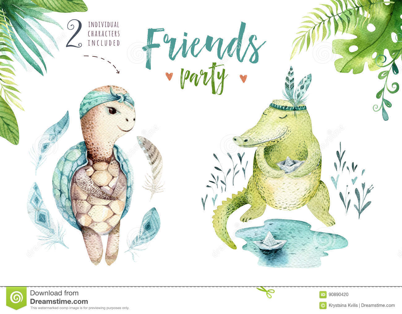 Baby animals nursery isolated illustration for children. Watercolor boho tropical drawing, child cute tropic turtle and