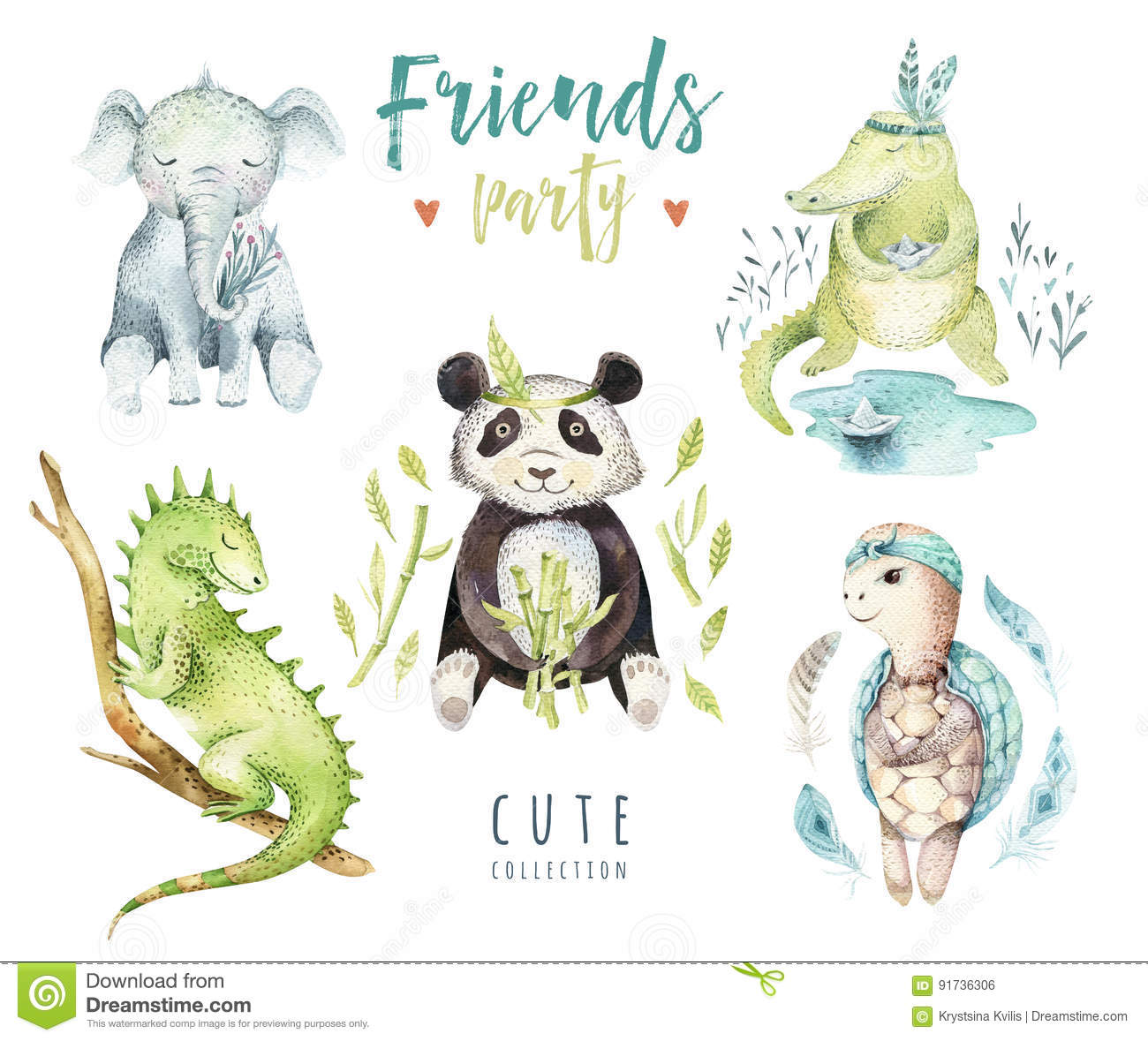 Baby animals nursery isolated illustration for children. Watercolor boho tropical drawing, child punda, crocodile