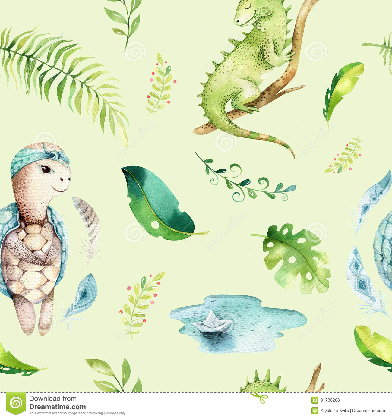 Image of: Safari Baby Animals Nursery Isolated Seamless Pattern Watercolor Boho Tropical Fabric Drawing Child Tropical Drawing Dreamstimecom Baby Animals Nursery Isolated Seamless Pattern Watercolor Boho