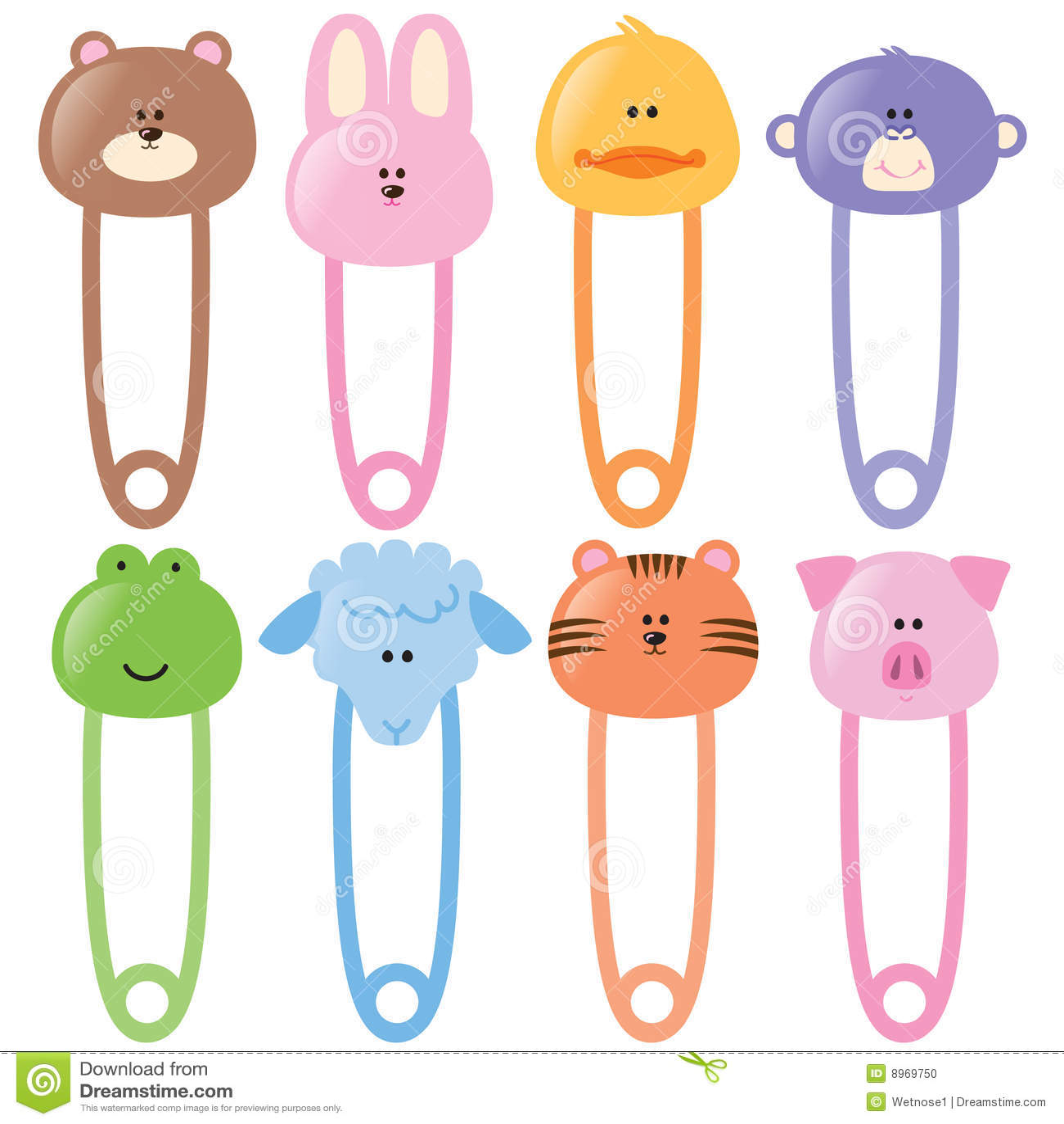 Baby Animamls Safety Pins Set 1 Illustration 8969750 Megapixl