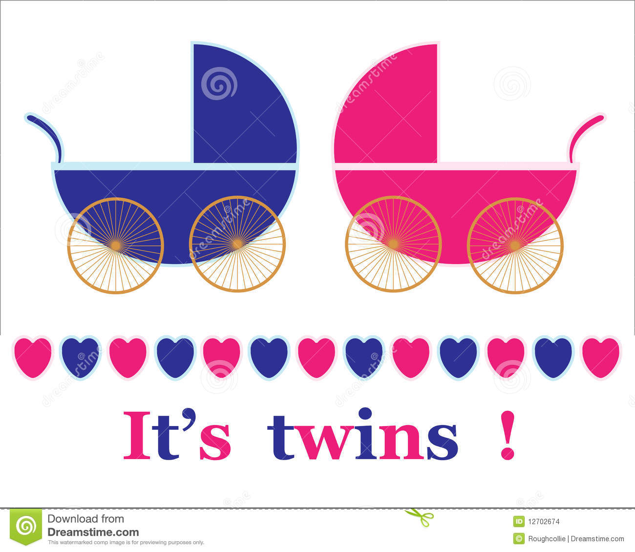 ... for new baby girl and boy twin arrival announcement card, vector Baby Stroller Cartoon